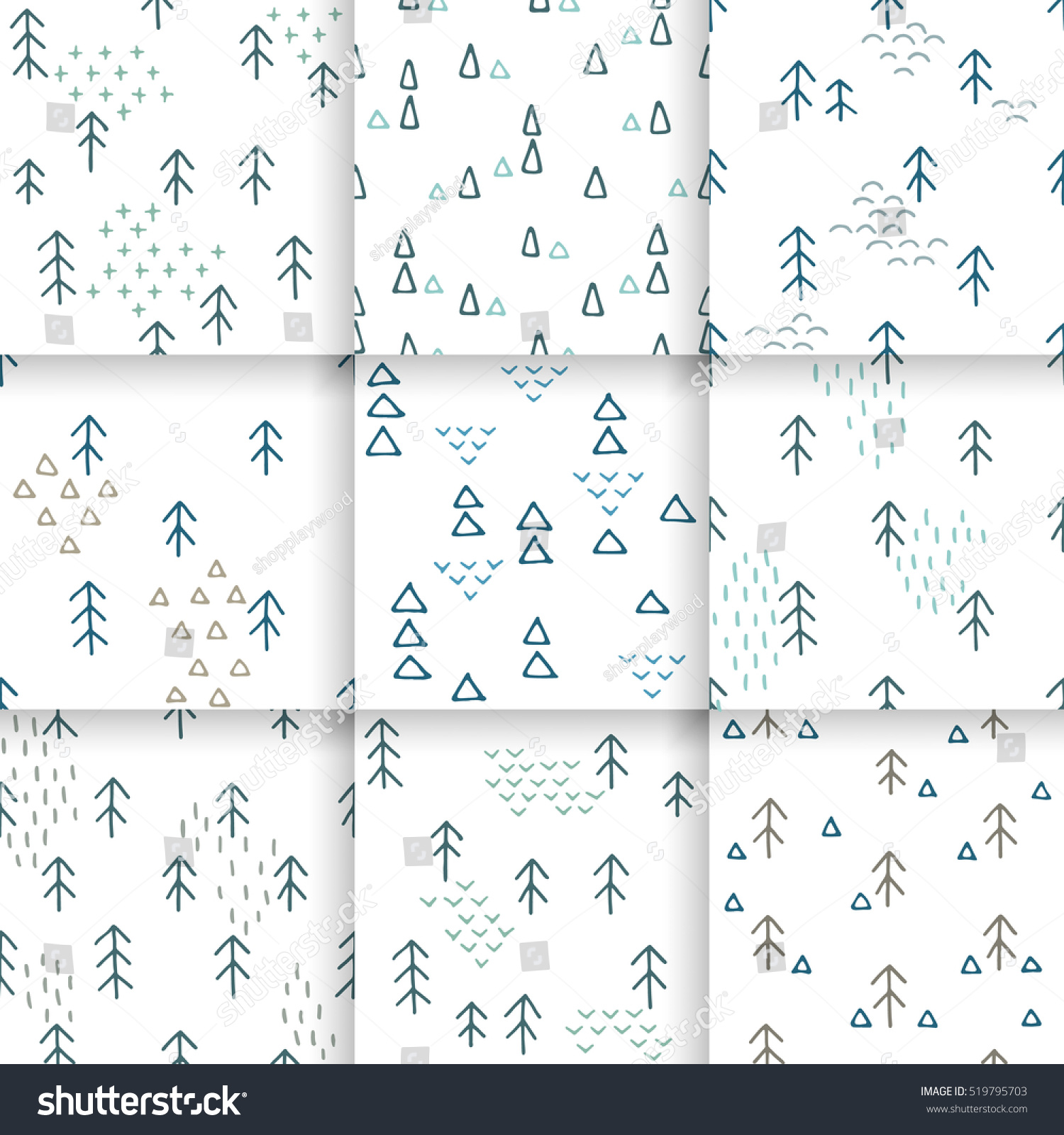 Seamless fir tree scandinavian pattern textile background wrapping - Scandinavian Pattern With Fir Trees And Triangles Seamless Winter Patterns Hand Drawn In Black