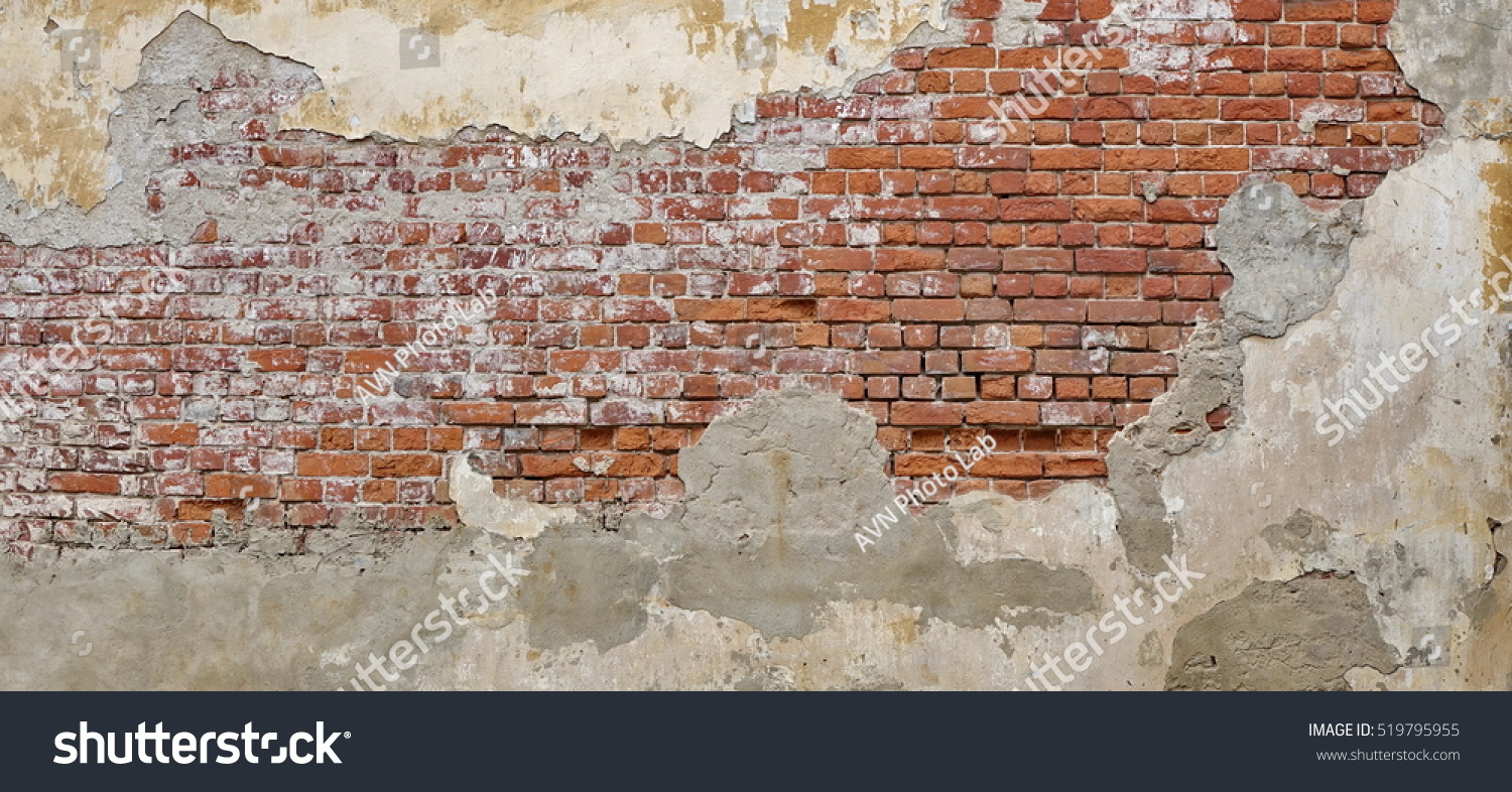 Empty Old Brick Wall Texture Painted Stock Photo 519795955 ...