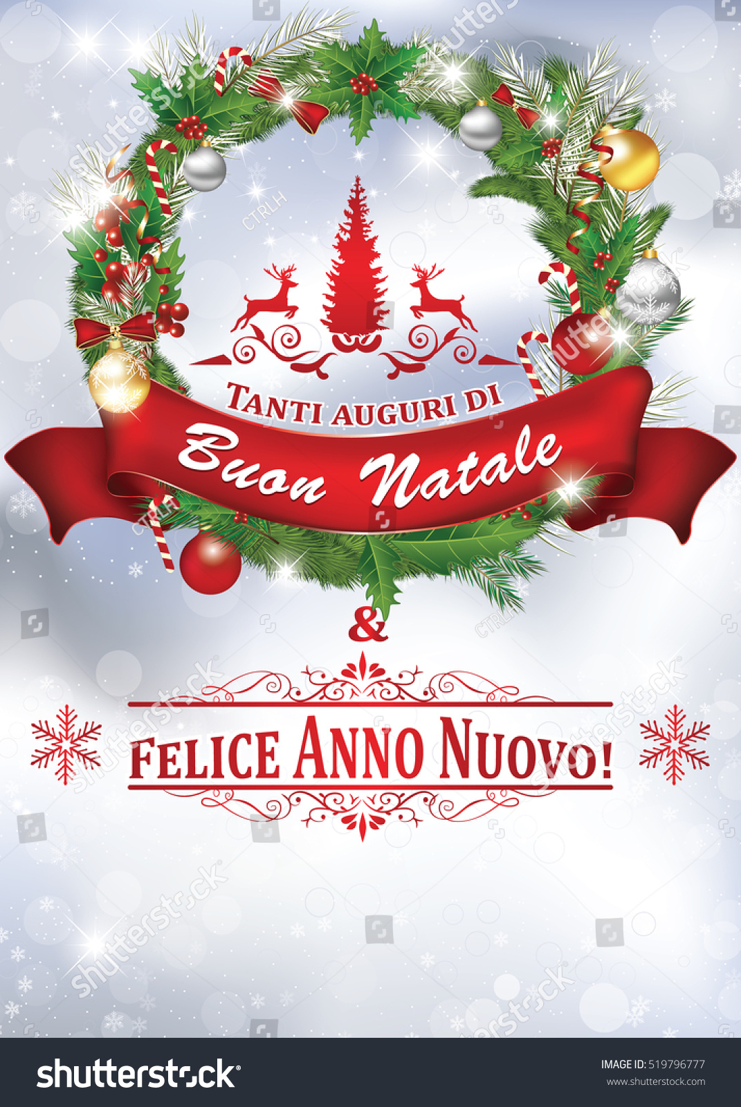 printable new year greeting card with message in italian language merry christmas and a happy