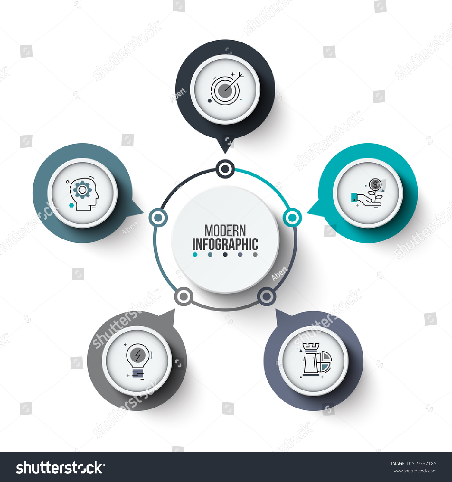 Vector Circle Infographic Template Cycle Diagram Stock