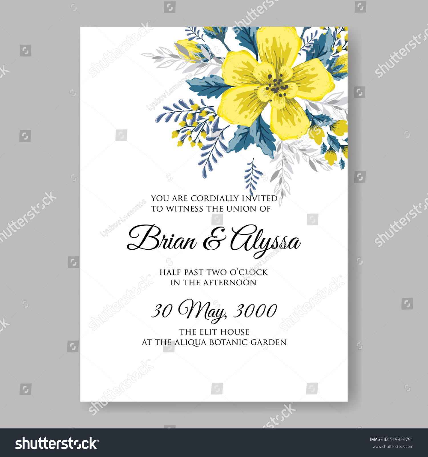 Wedding Invitation Card Abstract Yellow Floral Stock Vector (Royalty ...