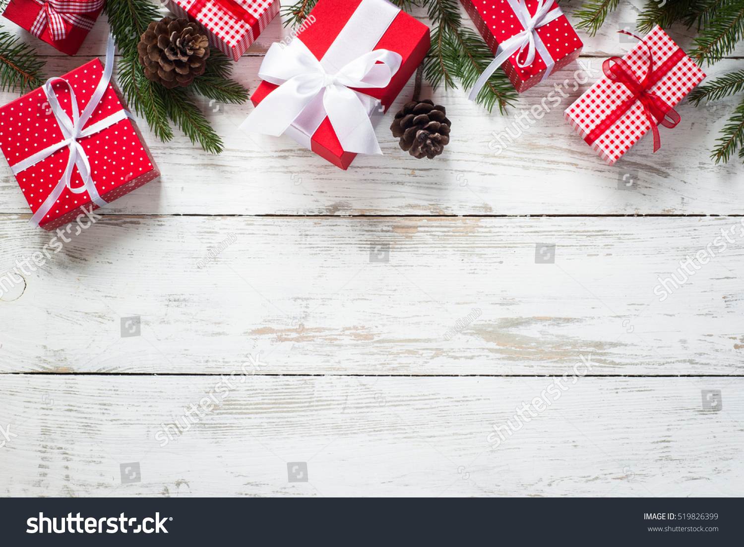 Christmas gift box presents red stock photo