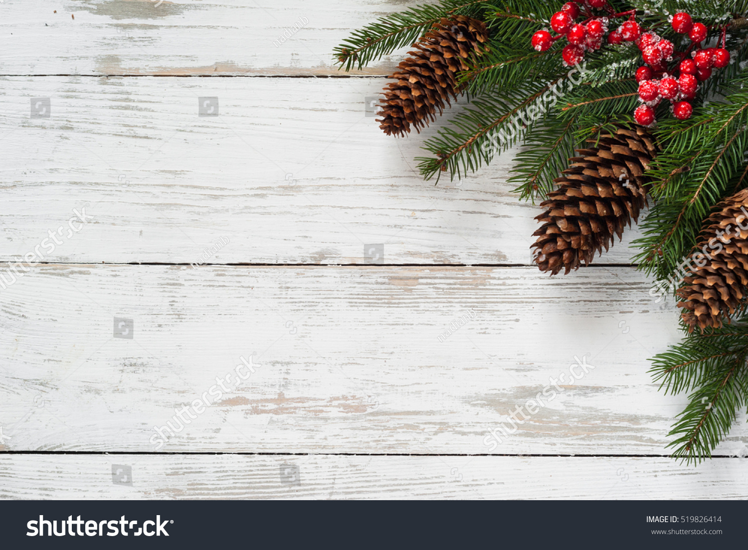 Christmas fir tree branch cone and decorations at white for Fir cone christmas tree decorations