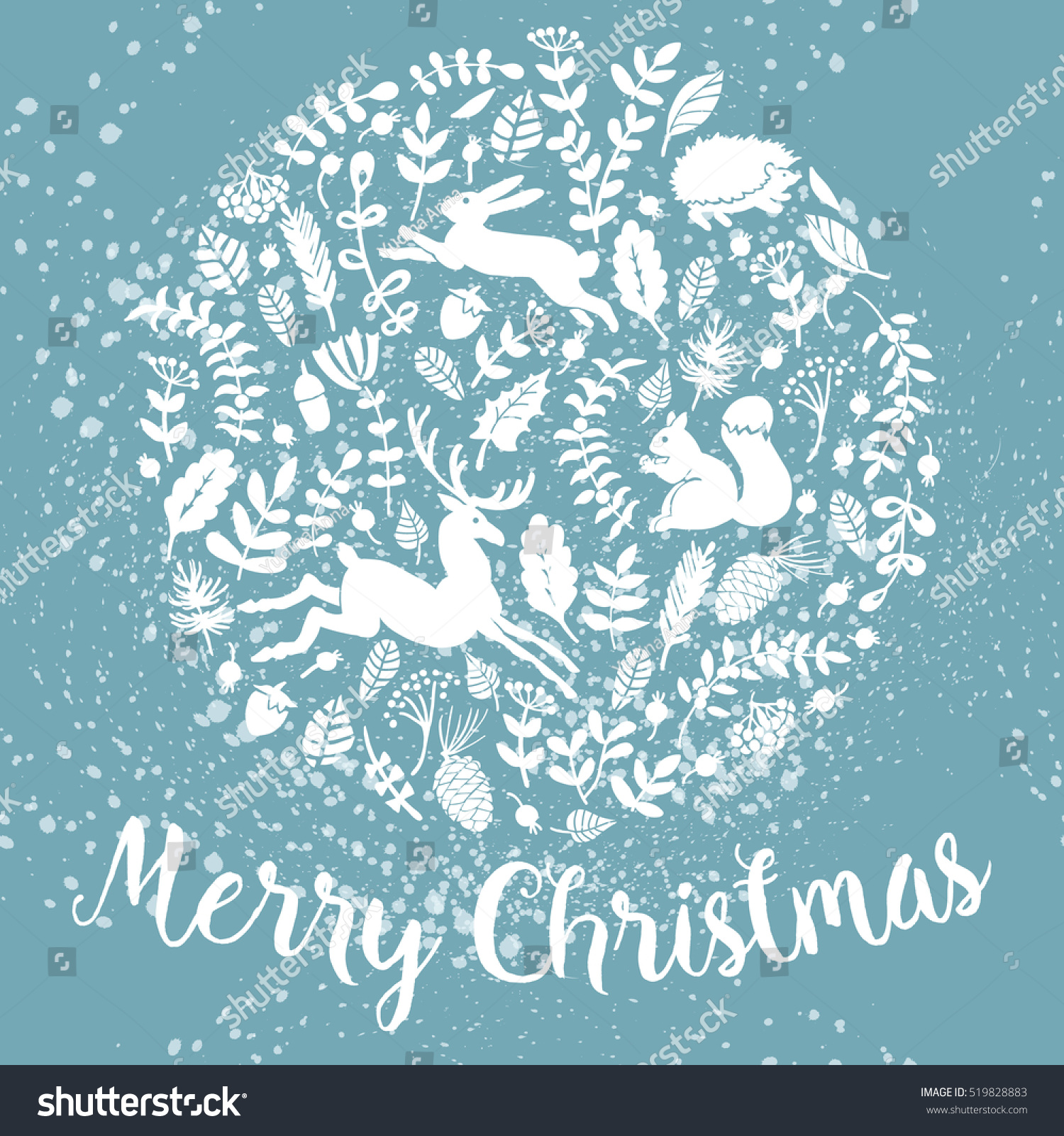 Snowy Christmas Card Illustration Greeting Cards Stock Vector