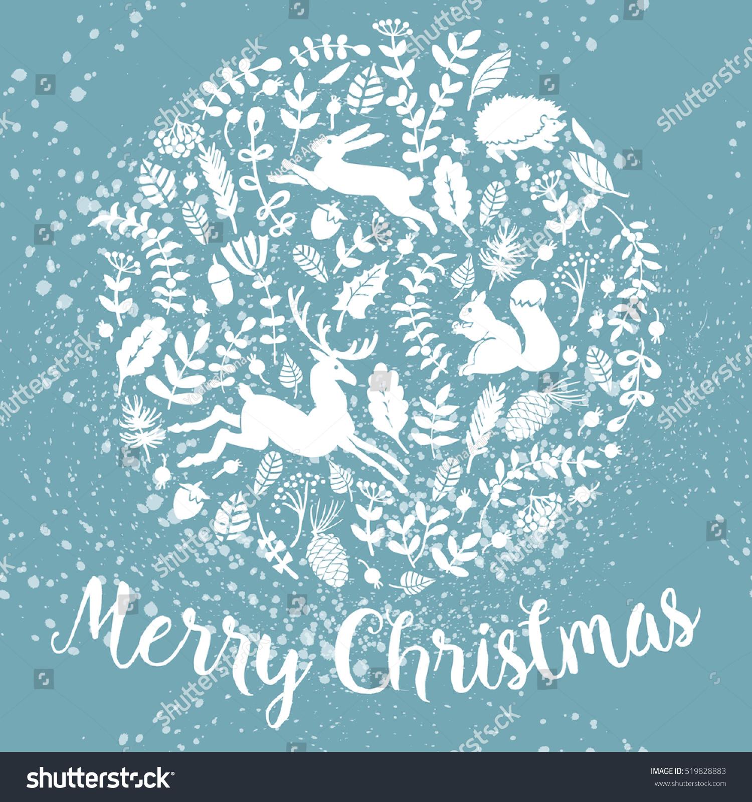 Snowy Christmas Card minimalist snowy landscape as a christmas card