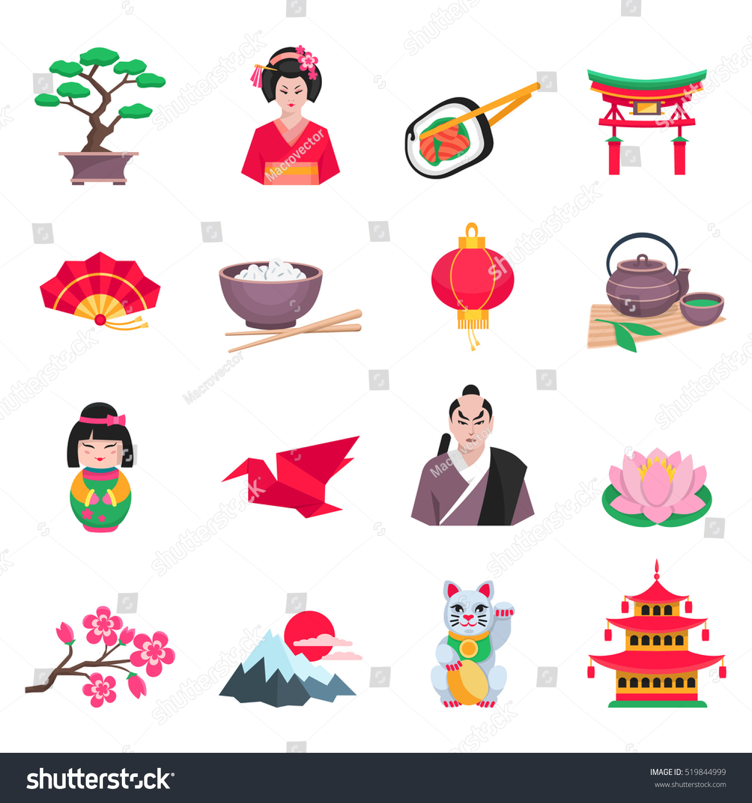 Japanese Culture Flat Icons Collection Tea Stock Illustration Schema Of Origami Mobile Crane 2 With Ceremony Sakura And Paper Symbols Abstract Isolated