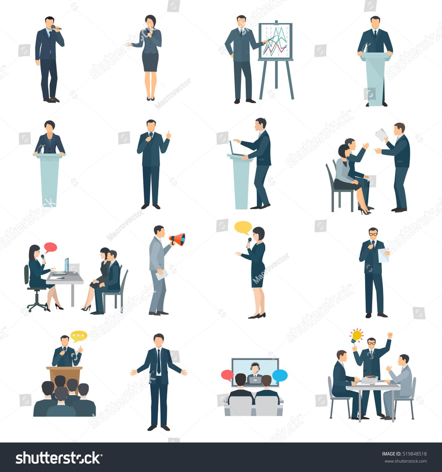 public speaking skills flat icons collection stock illustration 519848518