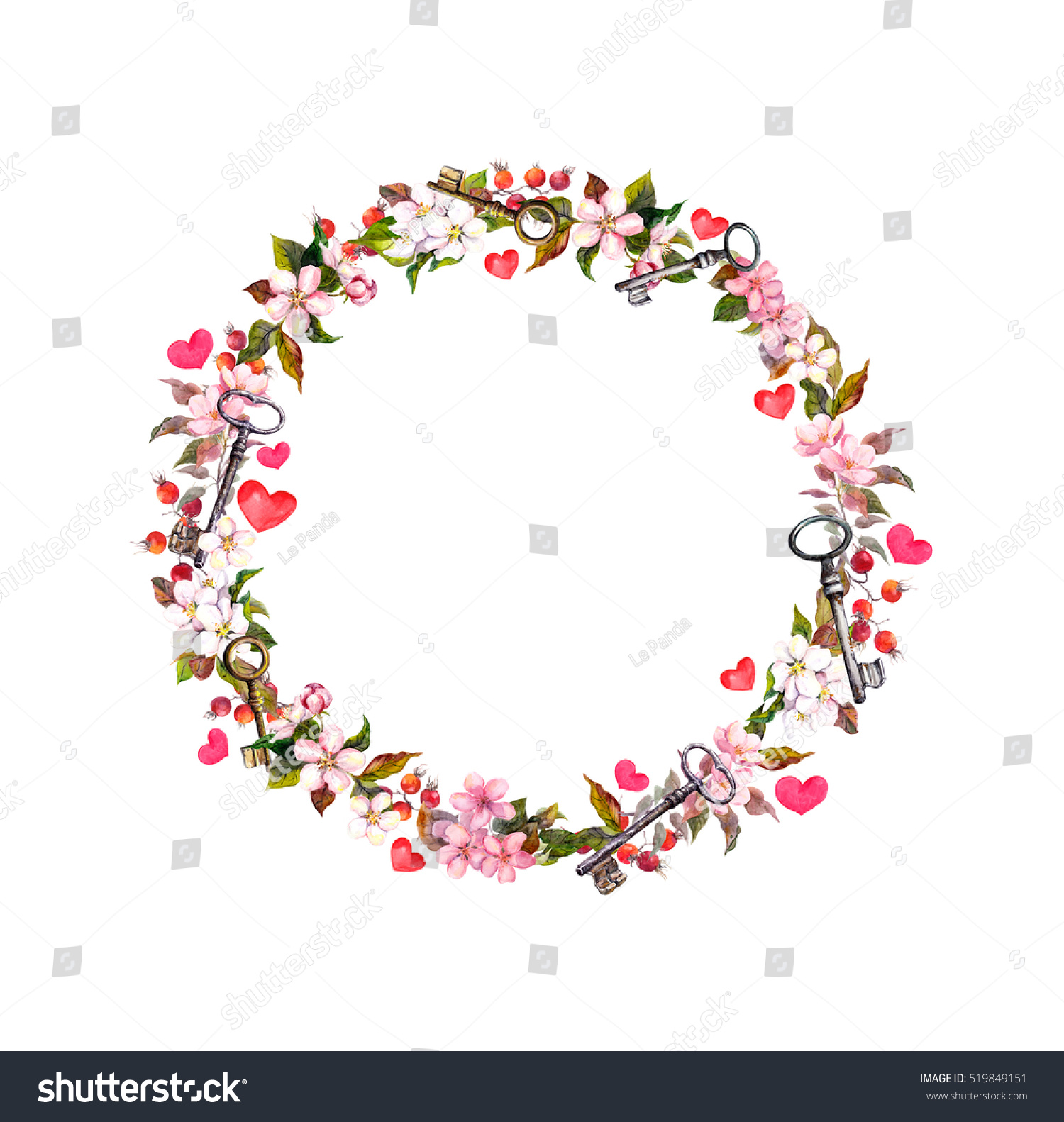 Floral Wreath Heart Shape Pink Flowers Hearts And Keys