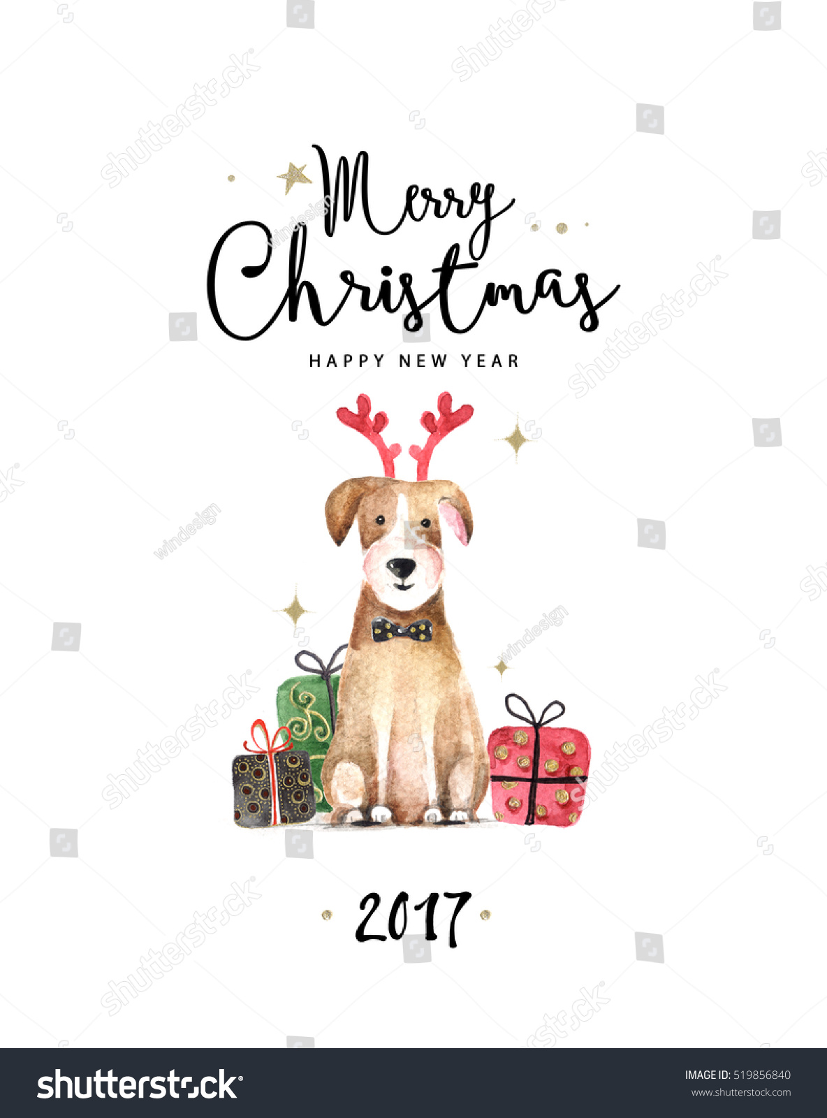 merry christmas and happy new year illustration watercolor illustration of dog