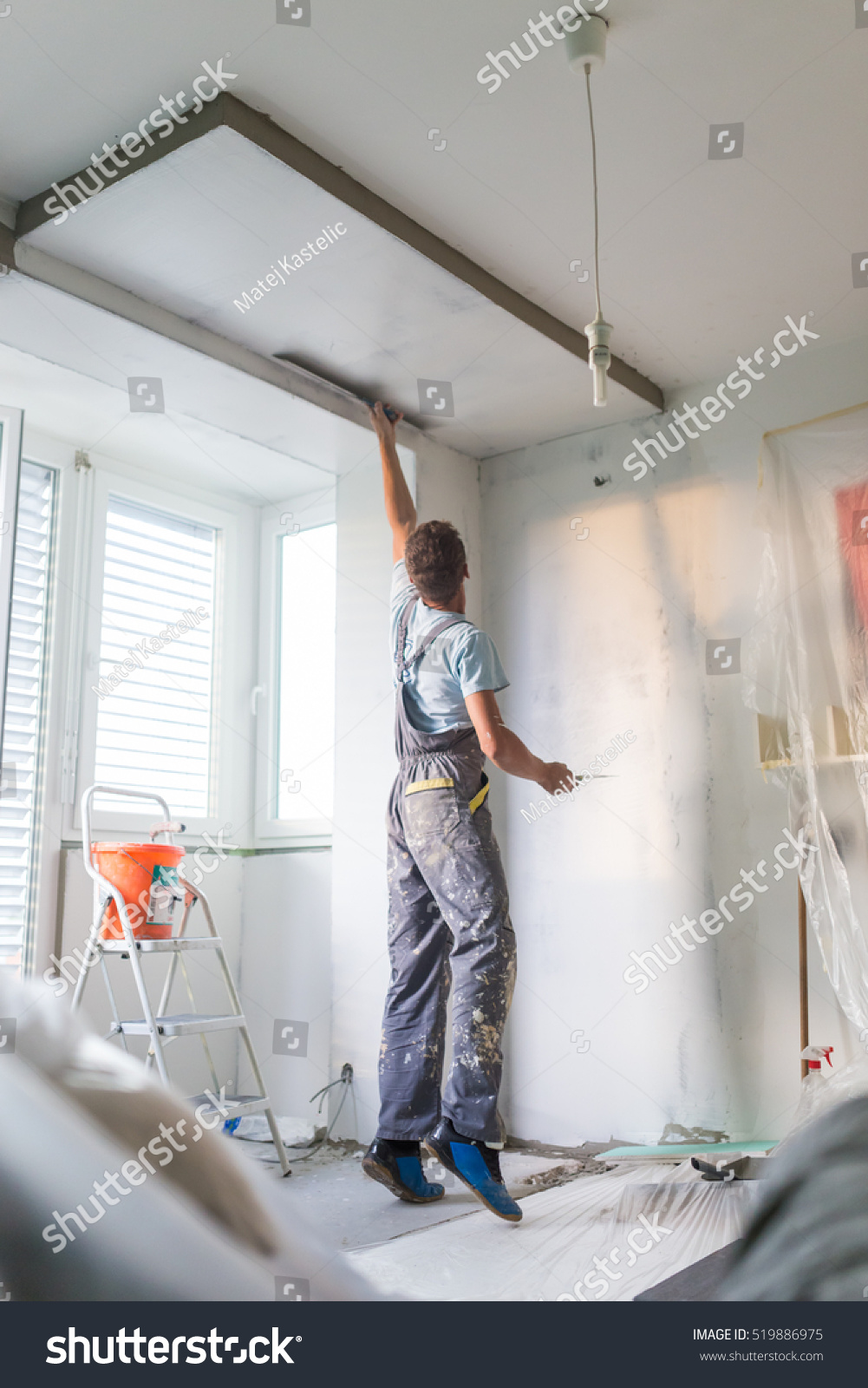 Thirty Years Old Manual Worker Wall Stock Photo 519886975