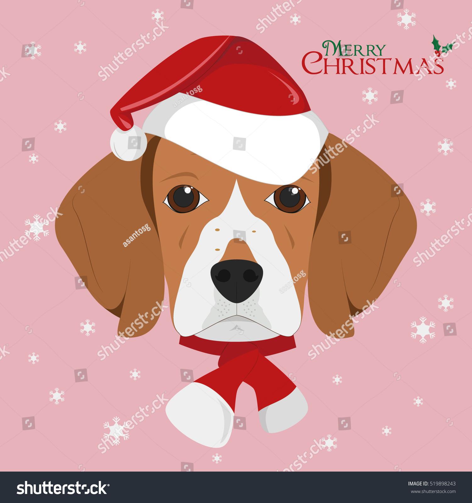 Christmas greeting card beagle dog red stock vector 519898243 christmas greeting card beagle dog with red santas hat kristyandbryce Image collections