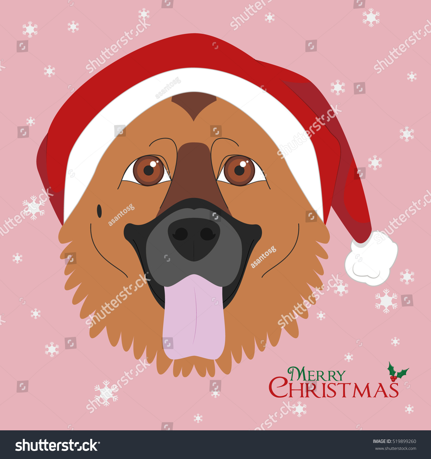 Christmas Greeting Card German Shepherd Dog Stock Vector Royalty