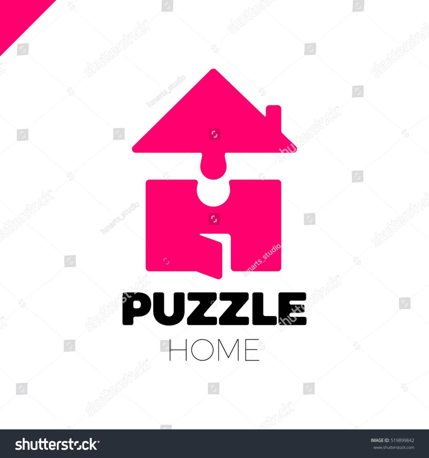 Puzzle Build Construction House Vector Logo Stock Vector (Royalty ...