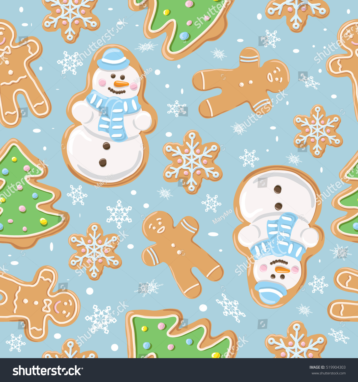 stock vector christmas gingerbread seamless pattern ginger cookies on blue background vector illustration 519904303