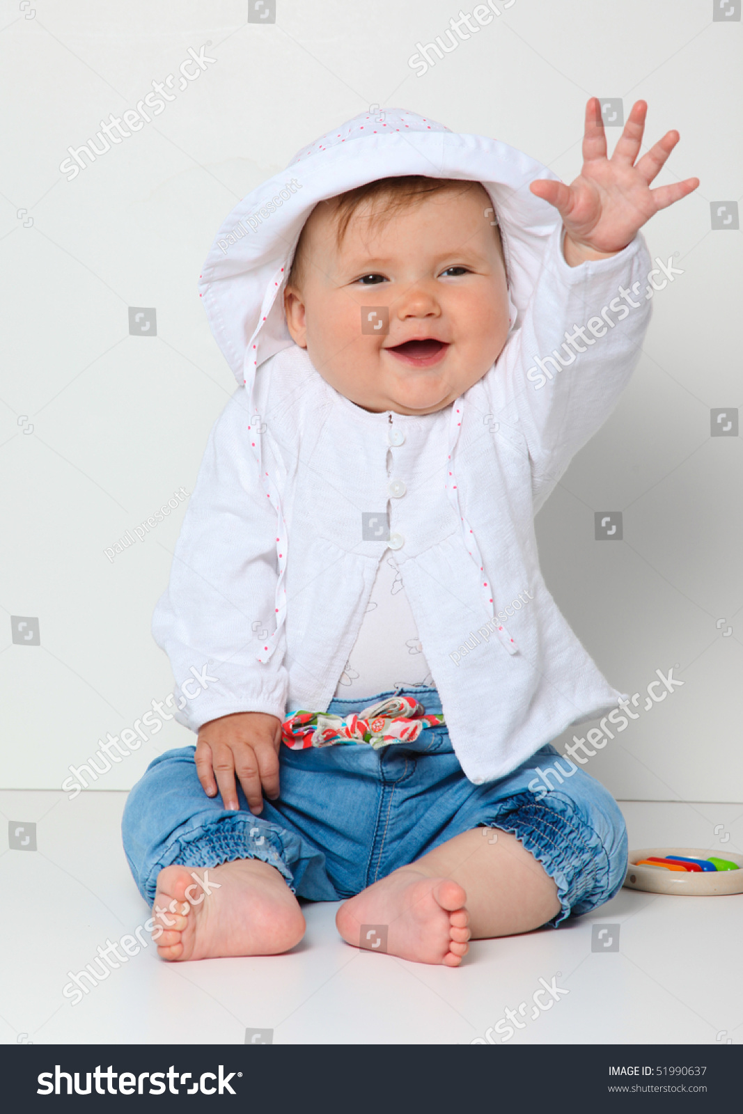 7 Month Old Baby Waving Hat Stock Photo 51990637 - Shutterstock