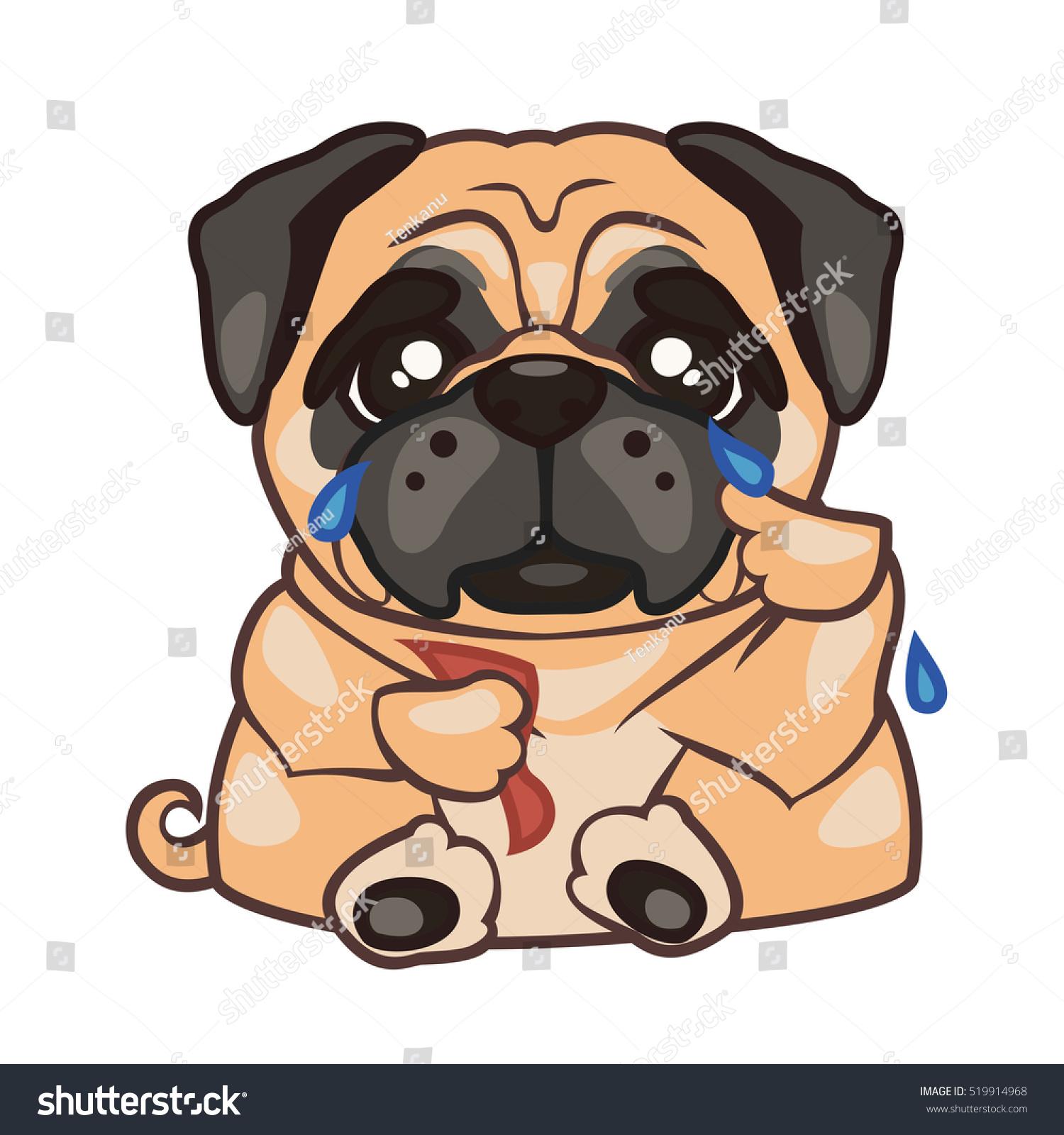 Dog Breed Pug Sitting Crying Vector Vector de stock (libre de ...