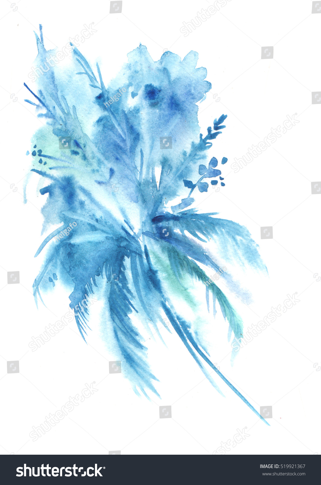 Watercolor Illustration Abstract Blue Flowers Vintage Stock