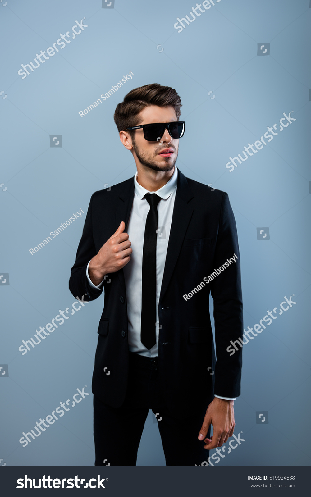 Young Confident Brutal Businessman Black Suit Stock Photo & Image ...