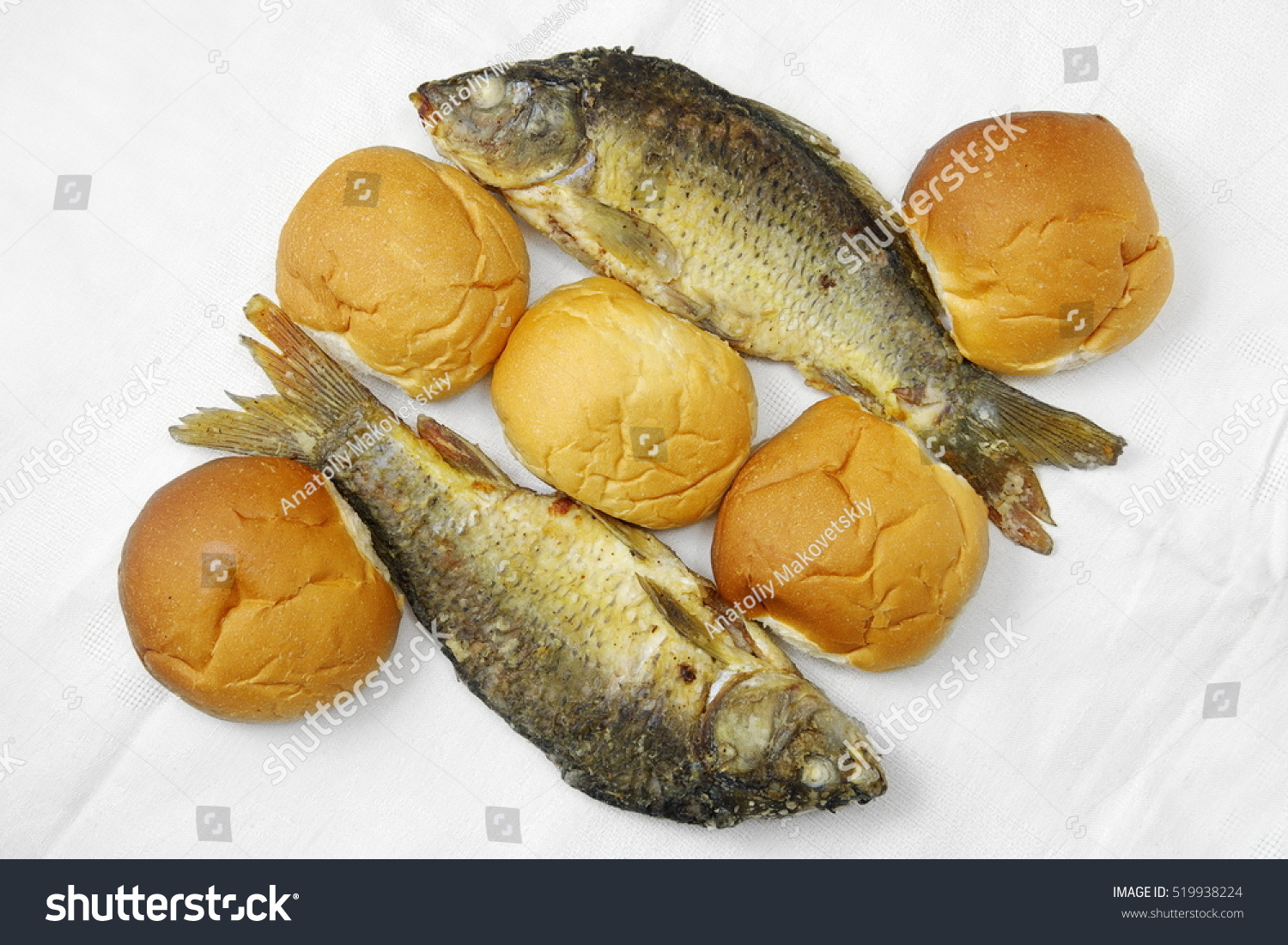 Five loaves two fishes stock photo 519938224 shutterstock for Five loaves two fish