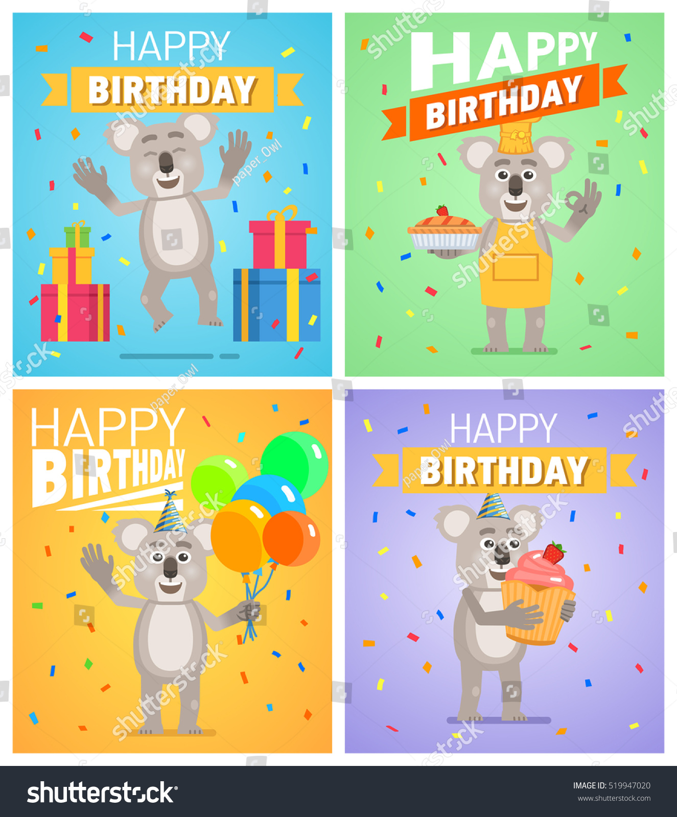 Set Of Different Birthday Posters Birthday Greeting Card Placard