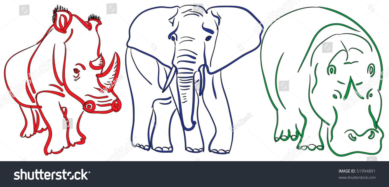 Line Drawing Rhinoceros : Line drawing rhinoceros elephant hippopotamus handdrawn
