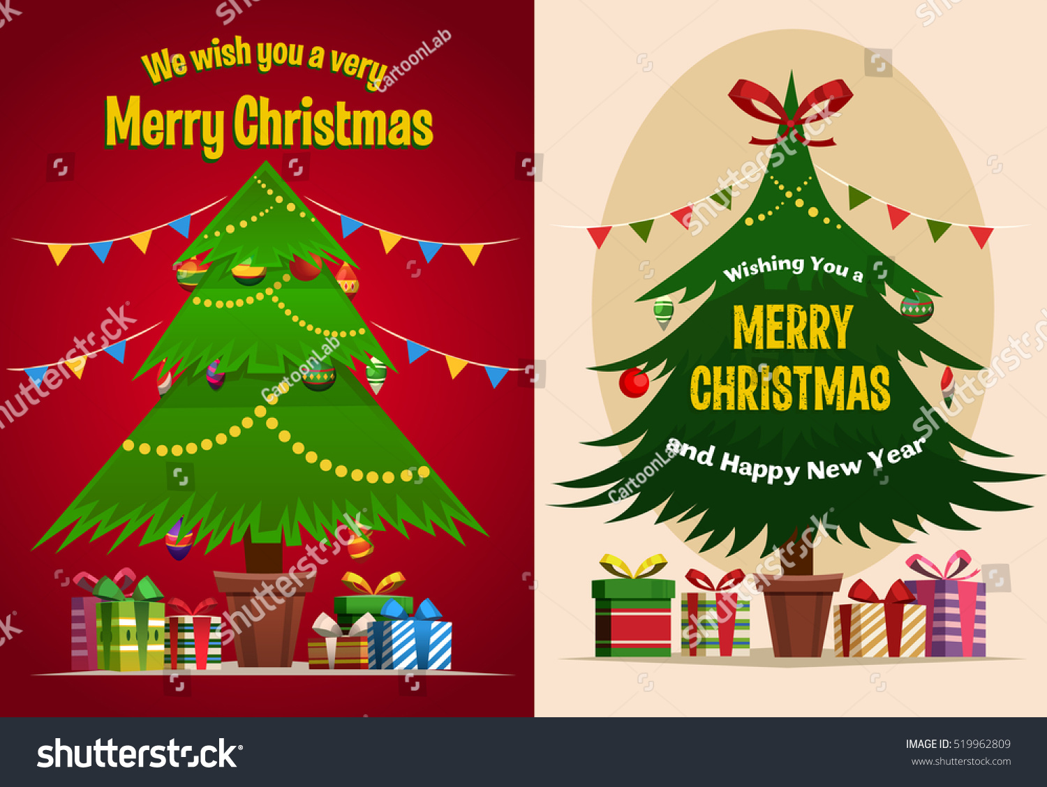 christmas tree gift boxes merry christmas post card banner poster