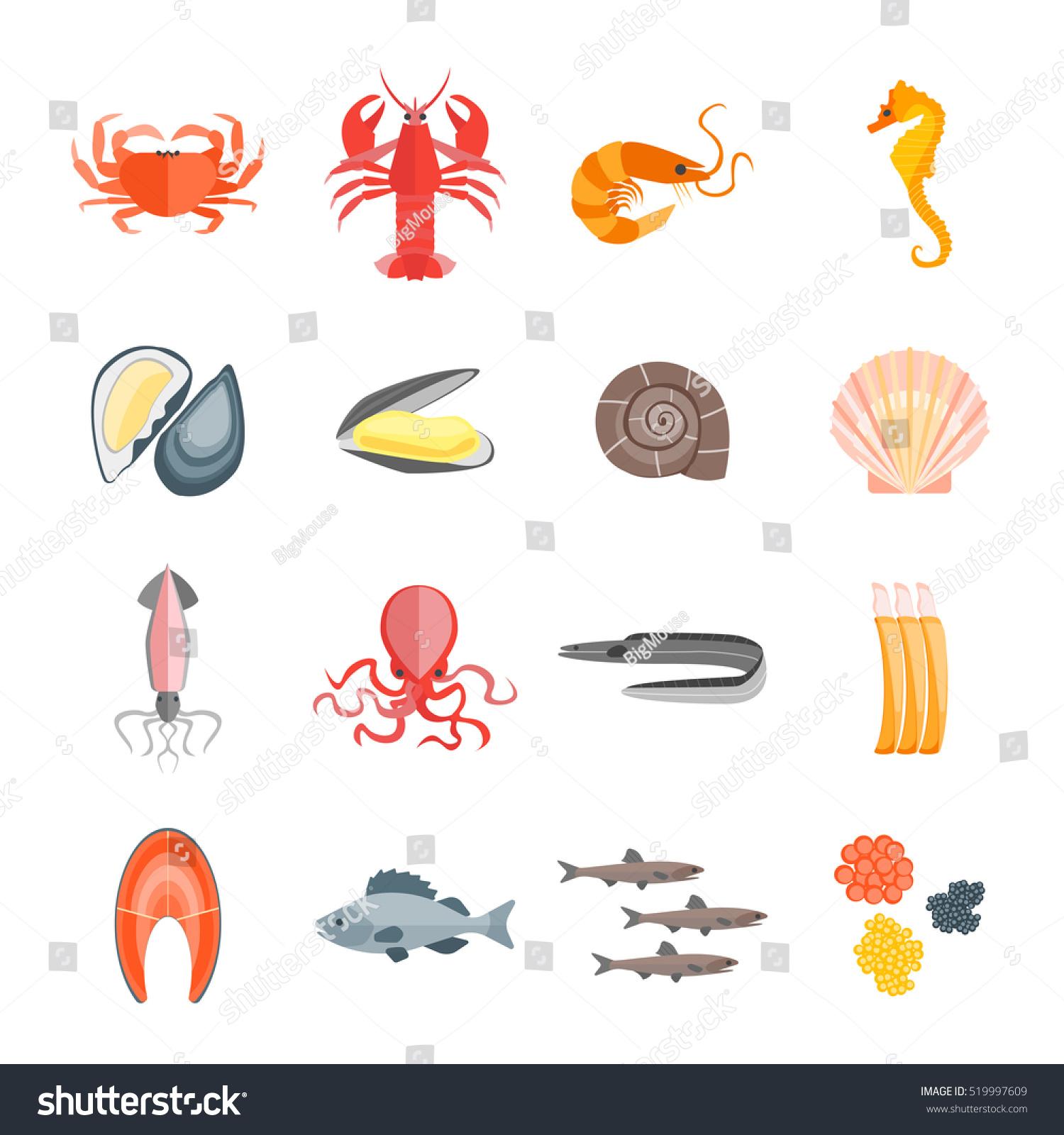 Set Seafood Menu Your Kitchen Flat Stock Vector Royalty Free 519997609