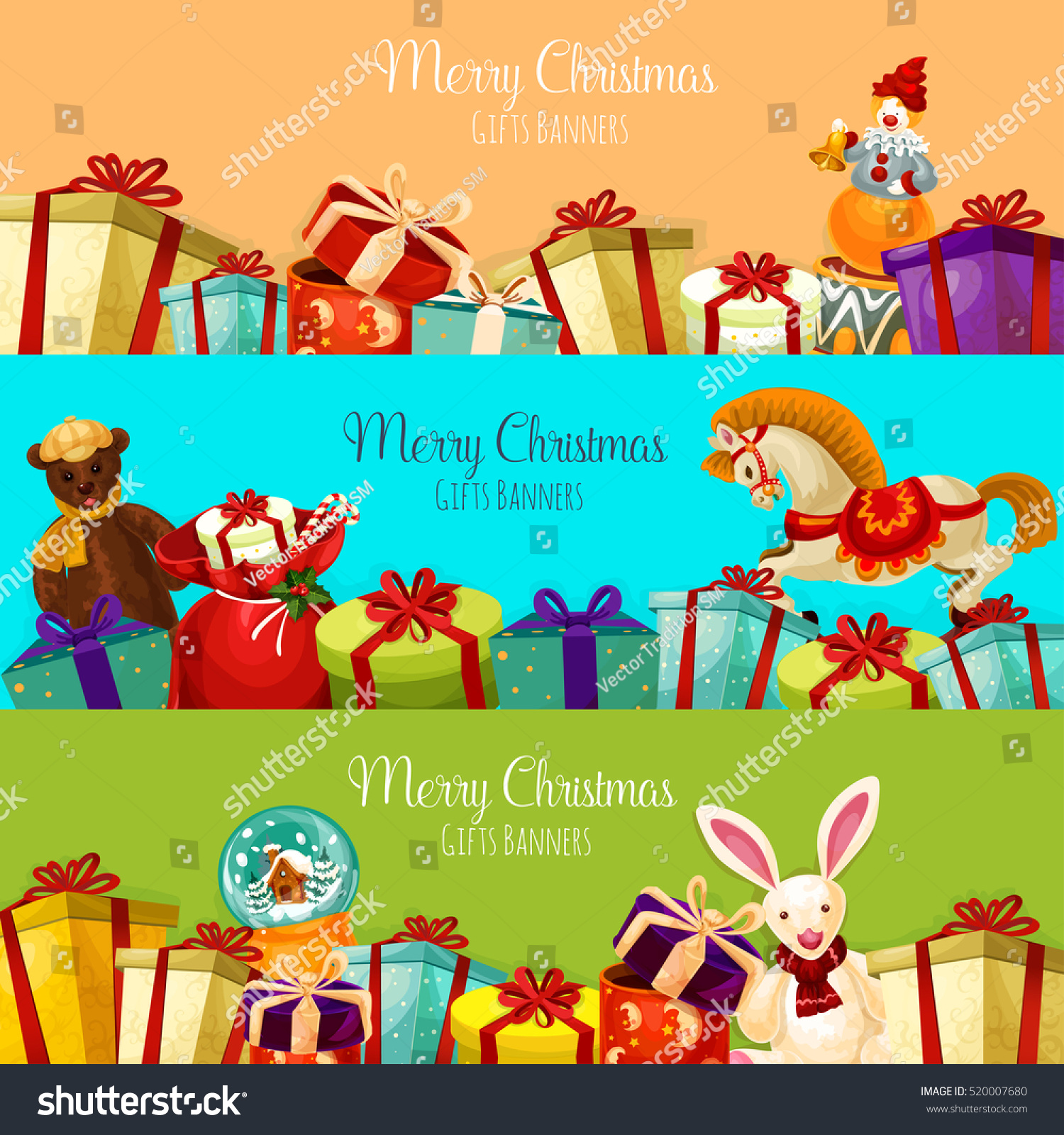 christmas gift toy banner set present stock vector 520007680