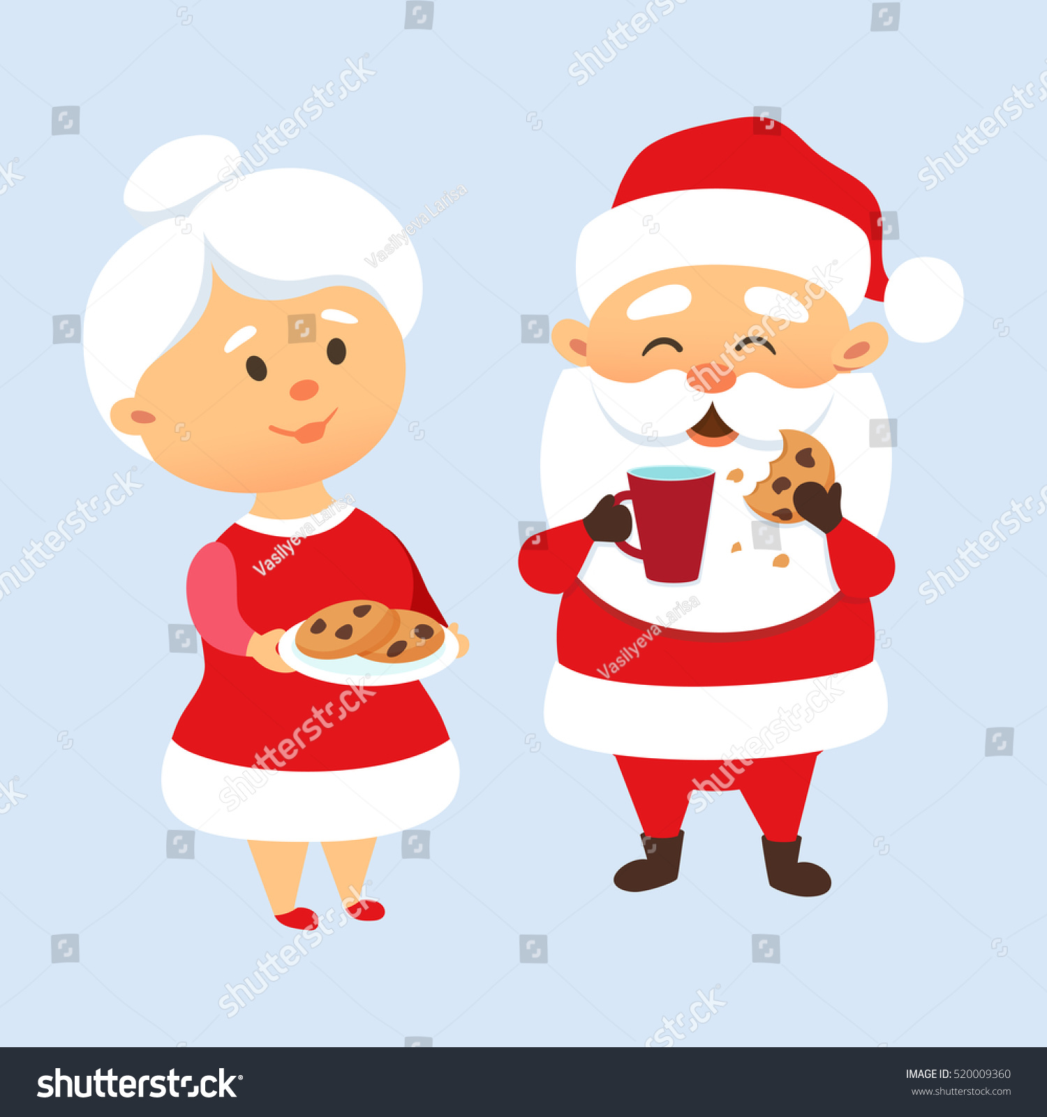 santa claus eating cookies drinking milk stock vector 520009360