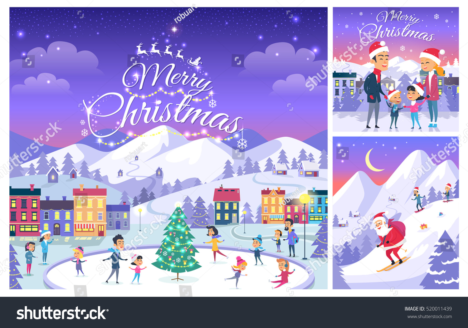 Merry Christmas Greeting Cards Design Celebration Stock Vector ...
