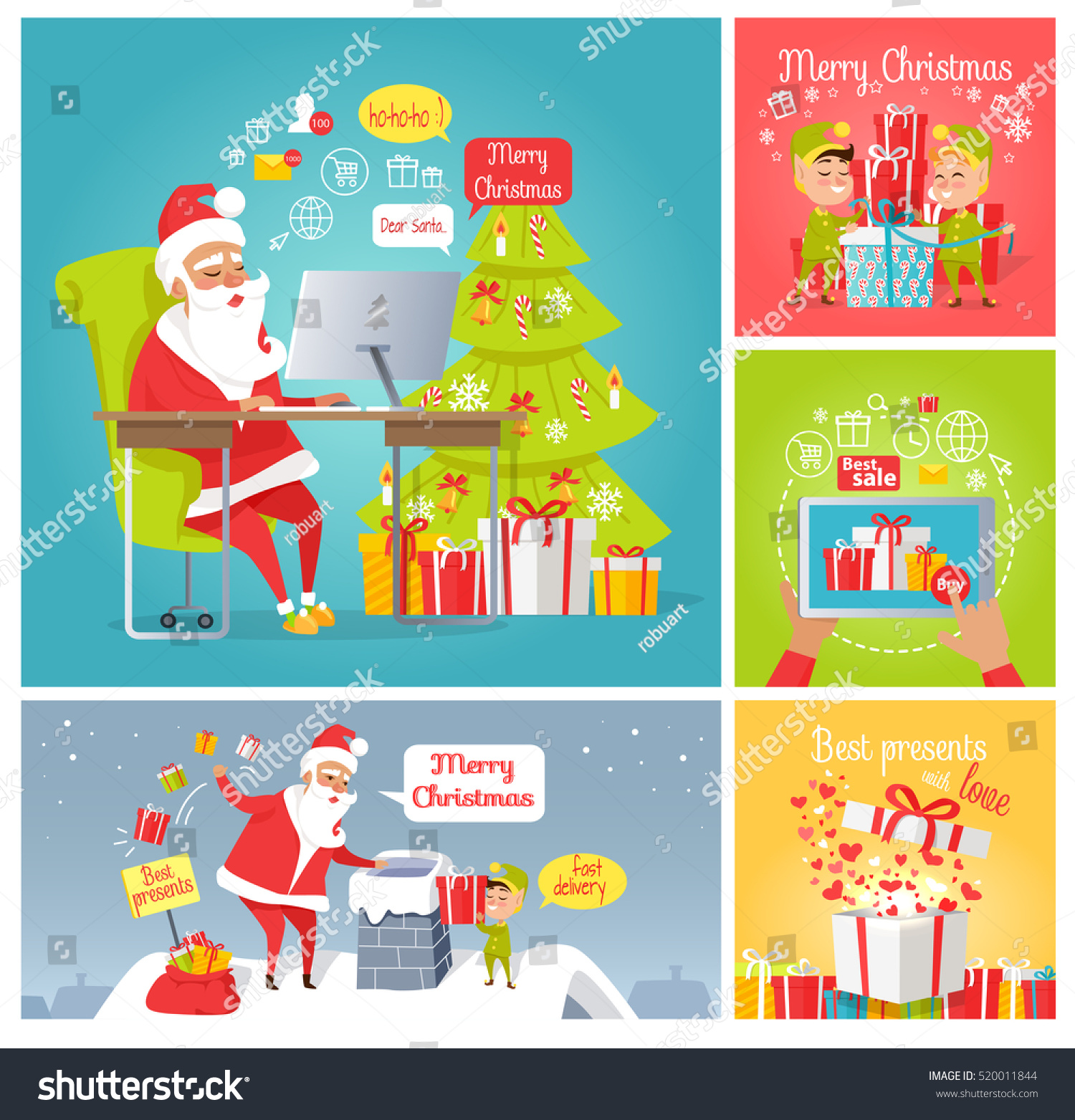 Merry Christmas Dear Santa Fast Delivery Stock Vector (Royalty Free ...