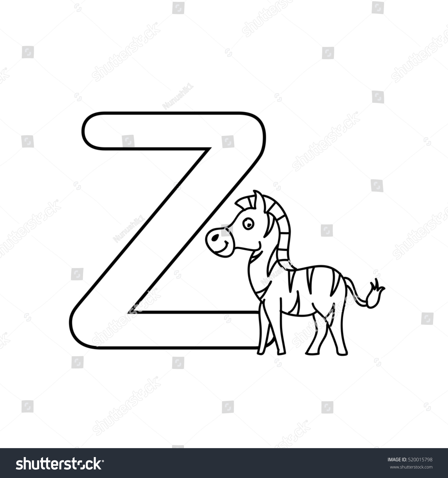 Baby Animals Alphabet Kids Coloring Page Stock Illustration