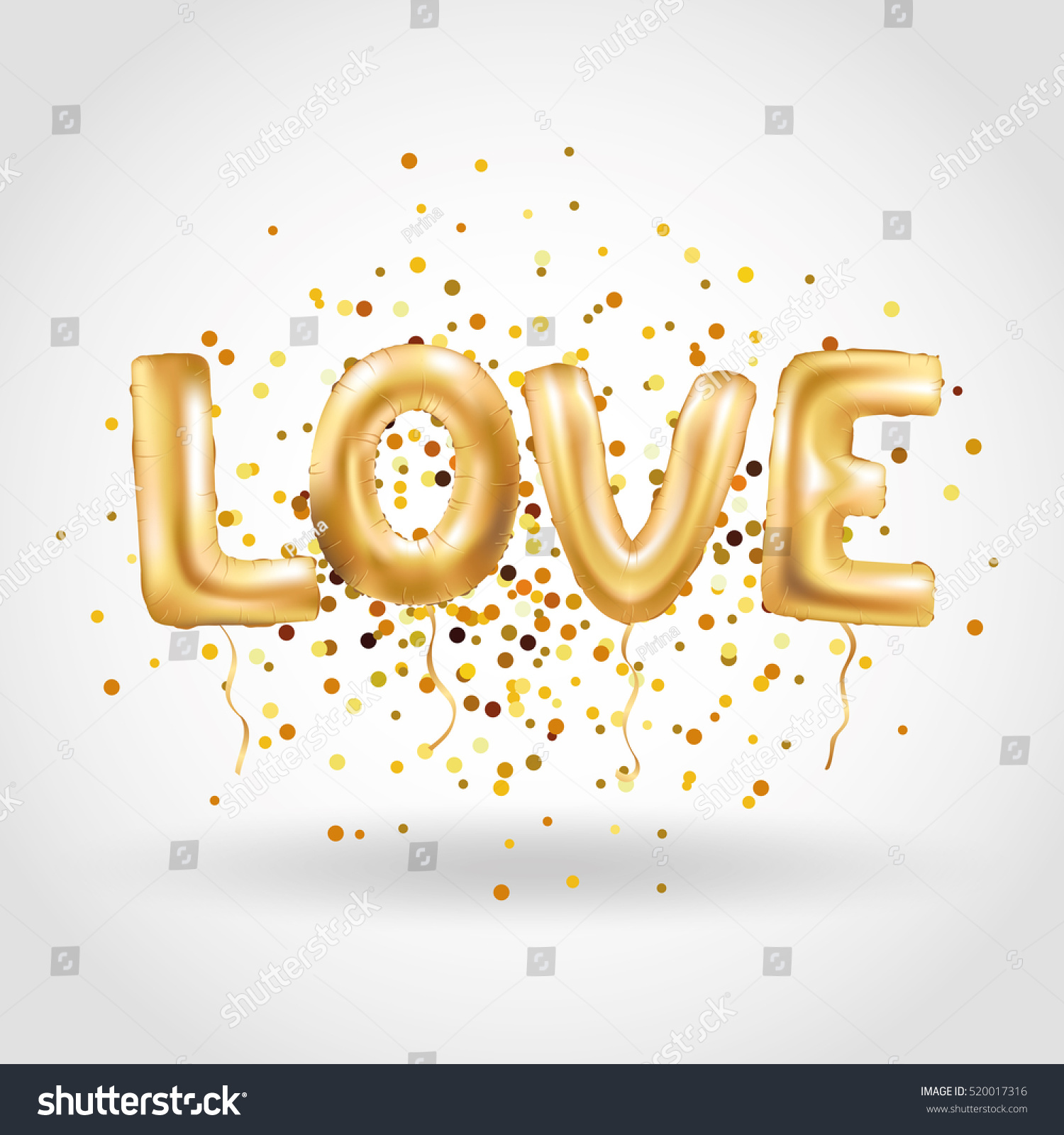 Gold Letter Love Balloons Love You Stock Vector