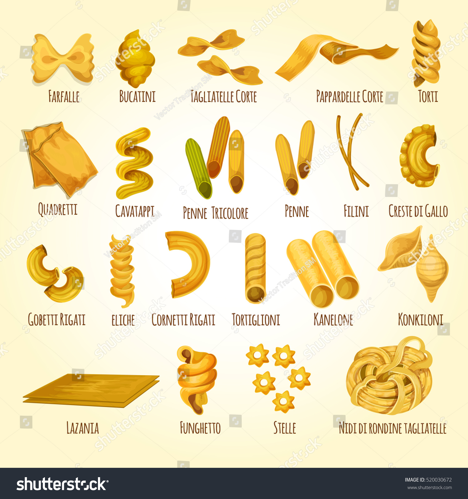 Italian Pasta Poster Different Types Shapes Stock Vector 520030672 ...