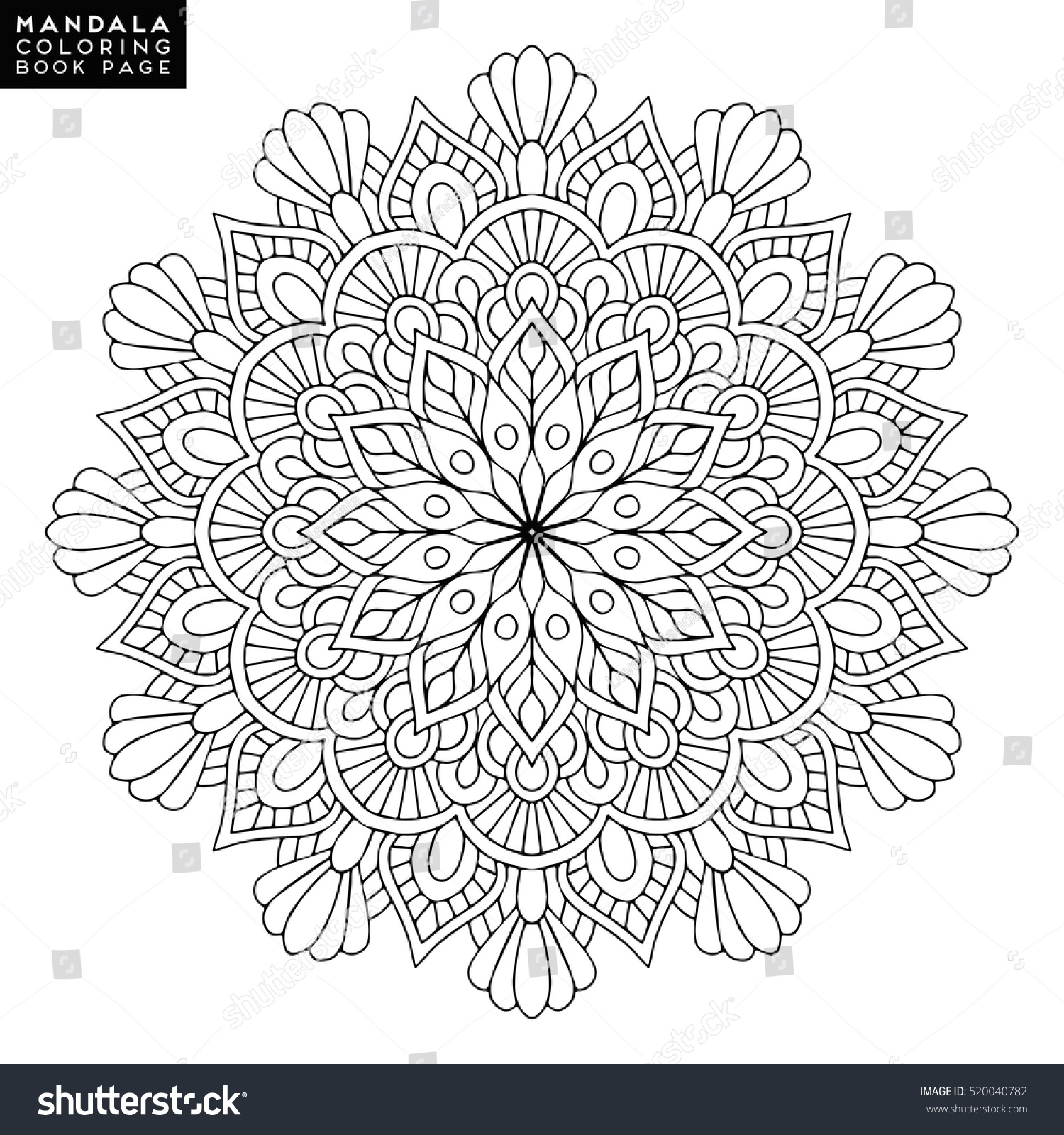 Flower Mandala Vintage Decorative Elements Oriental Stock Vector 520040782