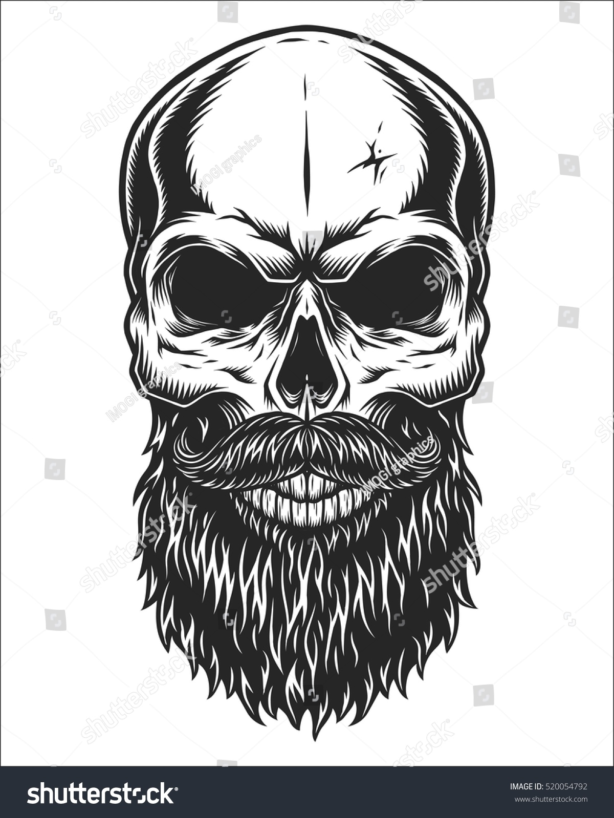monochrome illustration hipster skull mustache beard stock vector