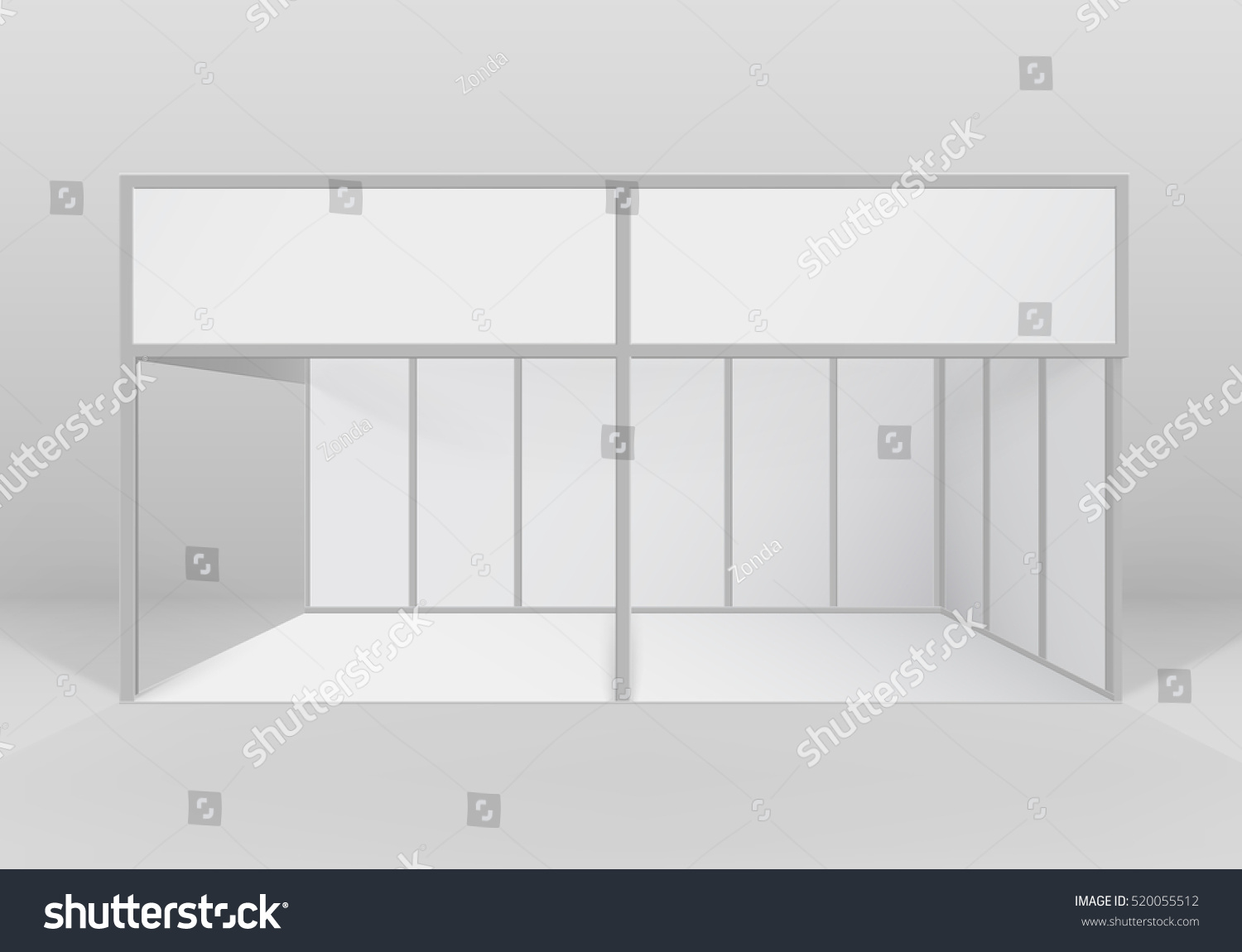 Trade Exhibition Stand Mockup Free Download : Vector white blank indoor trade exhibition stock