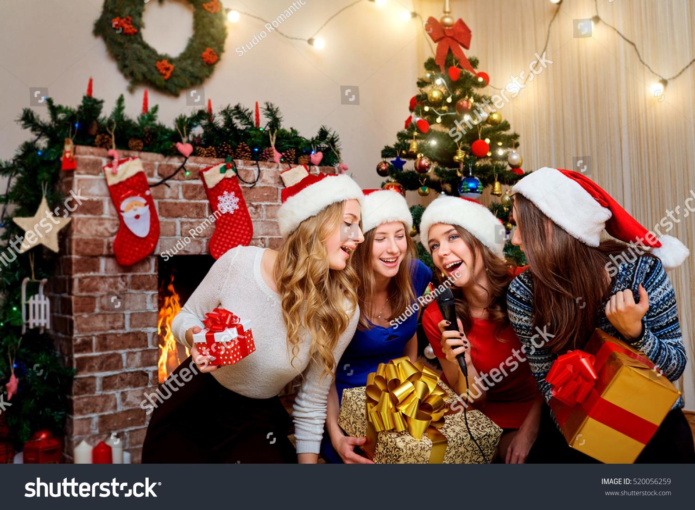 Friends Sing Karaoke Christmas New Year Stock Photo (Edit Now ...