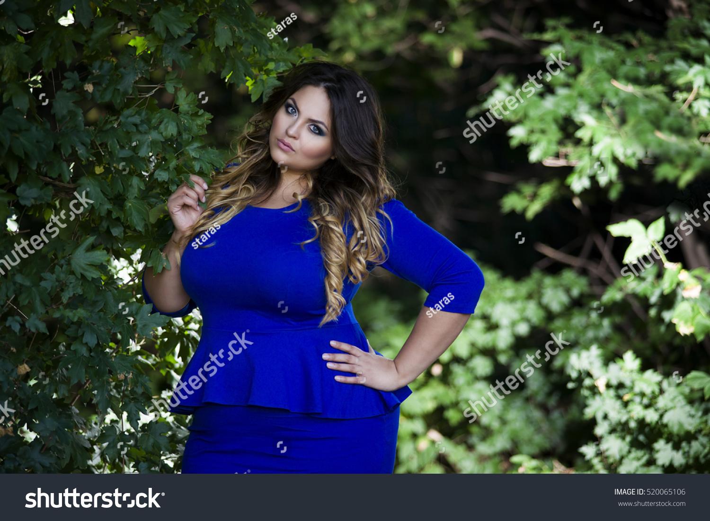 Young Beautiful Plus Size Model Blue Stock Photo 520065106 ...