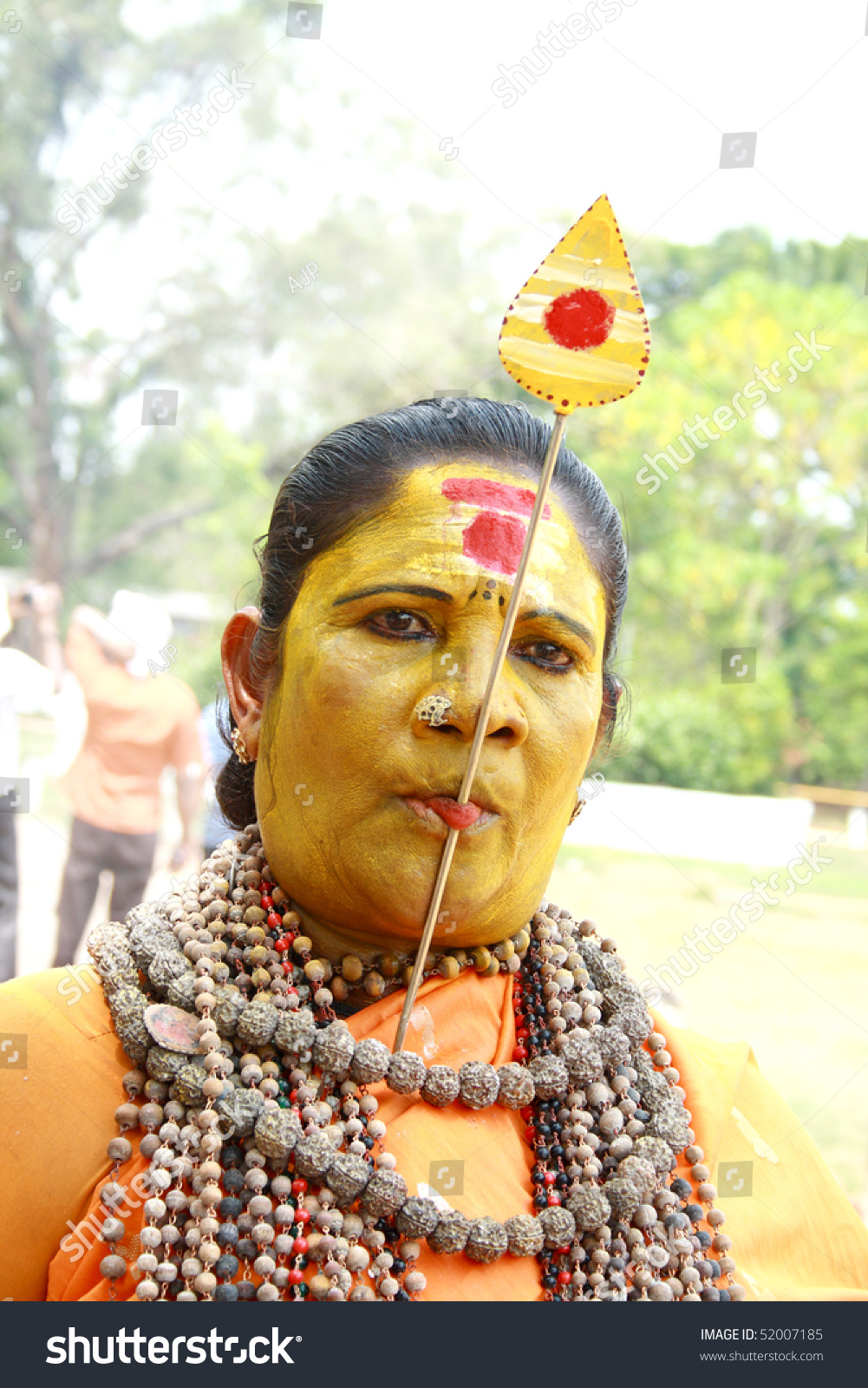 Thrissur India  city photos gallery : THRISSUR, INDIA APRIL 24 : A Female devotee tongue pierced in Pooram ...