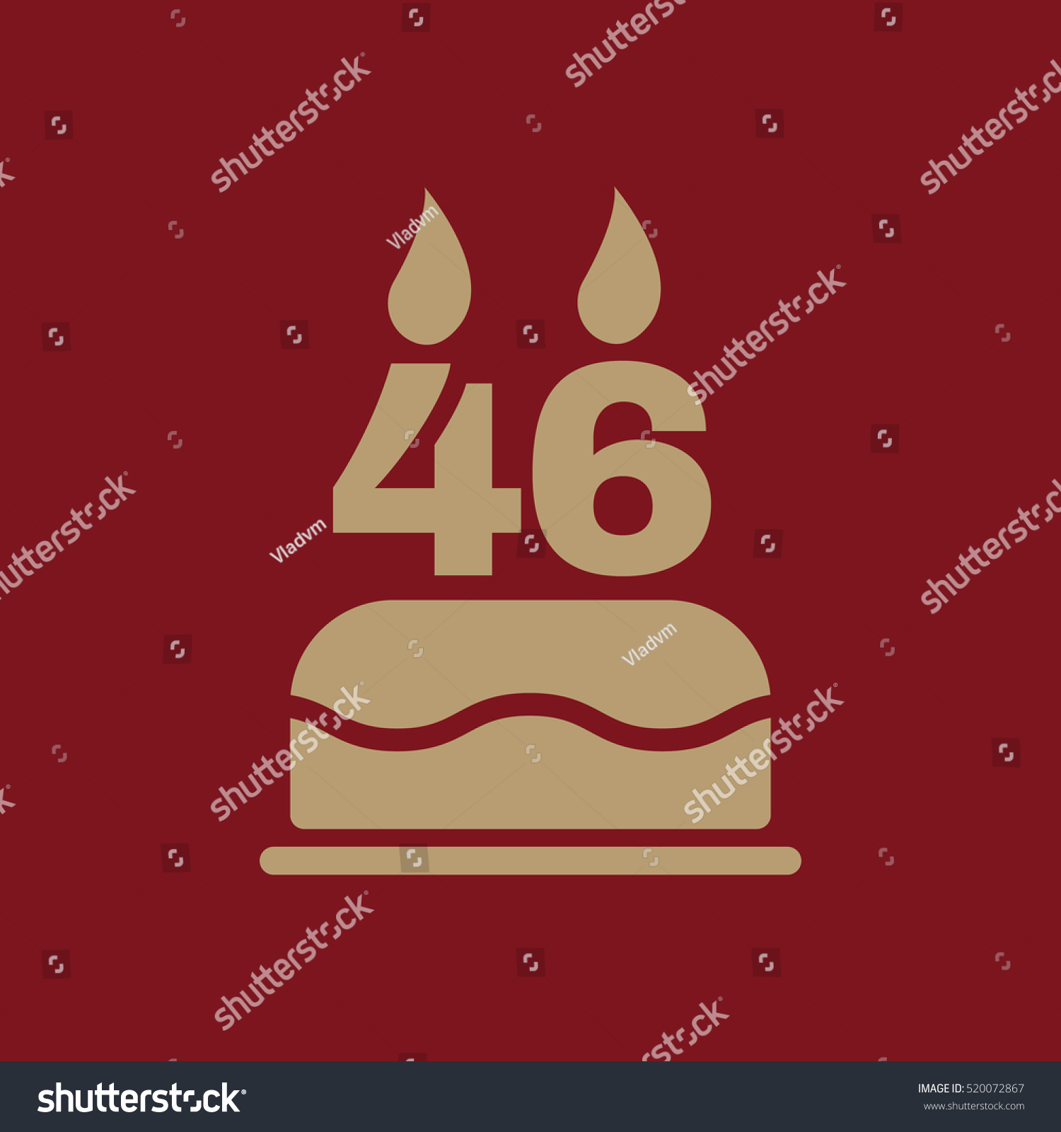 Birthday Cake Candles Form Number 46 Stock Illustration