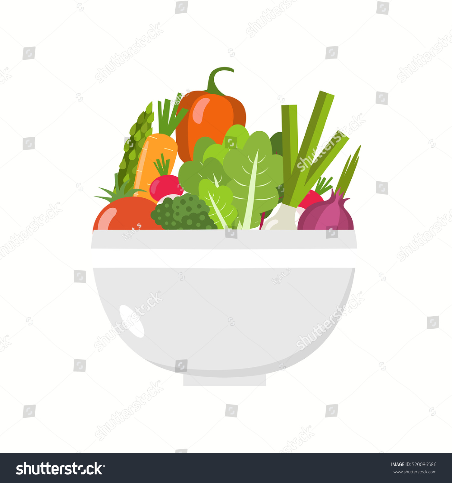Vegetable bowl. Flat design. #520086586
