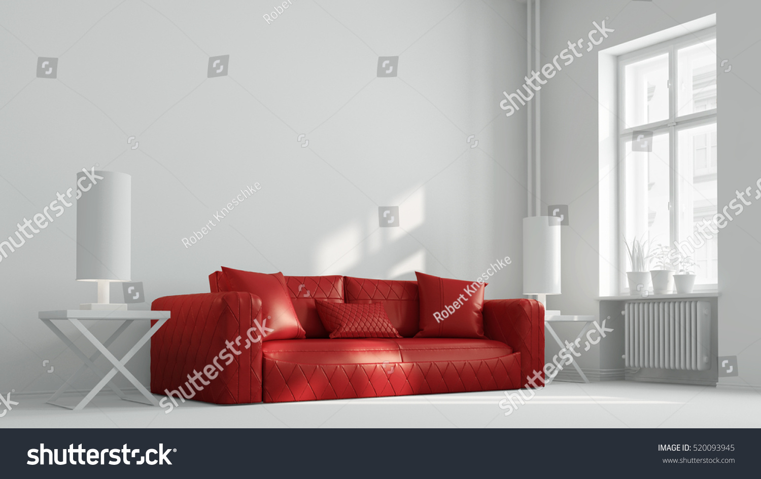 Red Couch Bright White Living Room Stock Illustration 520093945 ...