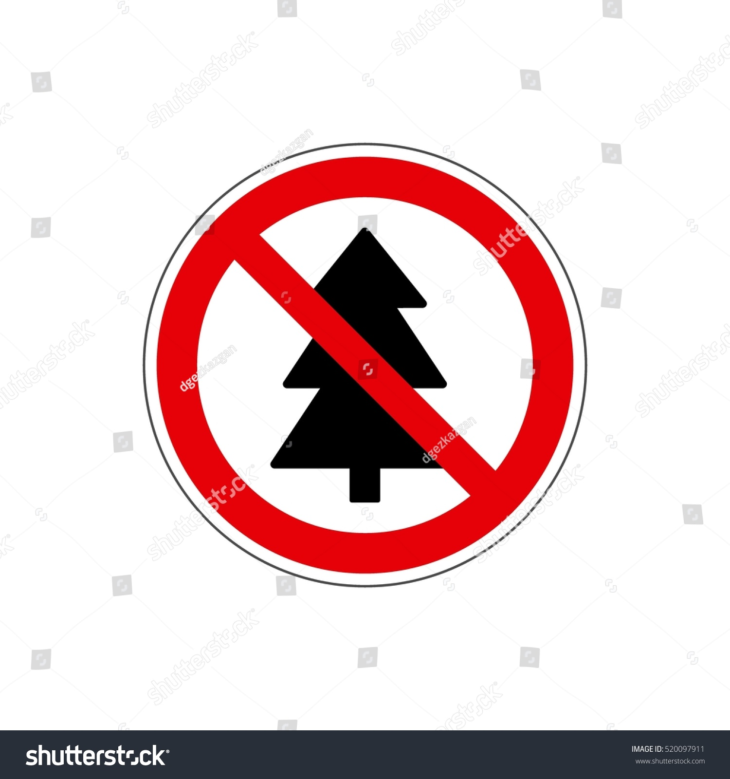 STOP No Christmas Tree Icon Red Stock Illustration 520097911 ...