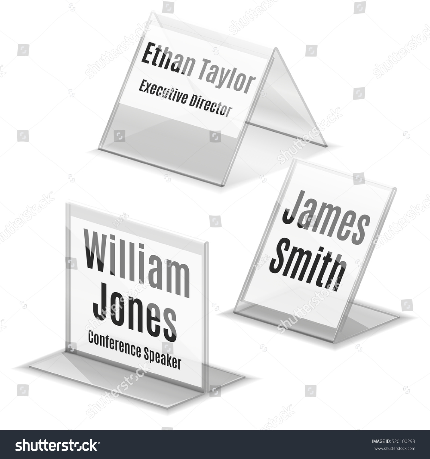 Acrylic Business Card Name Plate Holder Stock Vector