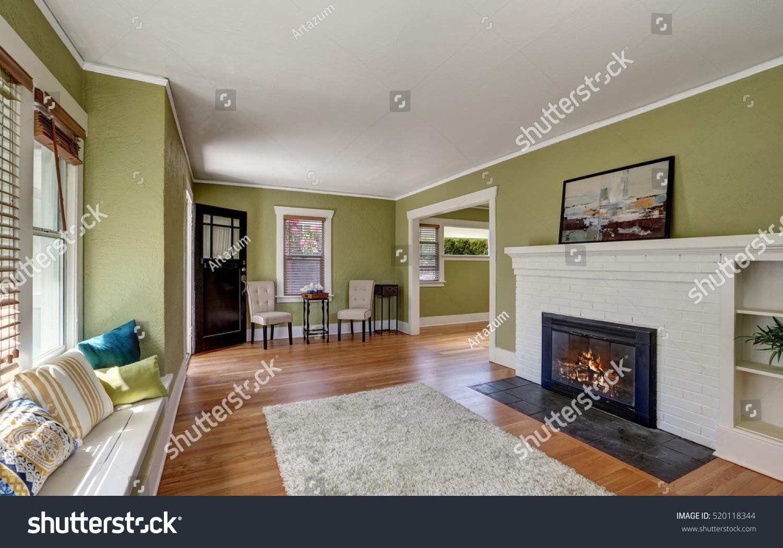 living room interior design craftsman home stock photo
