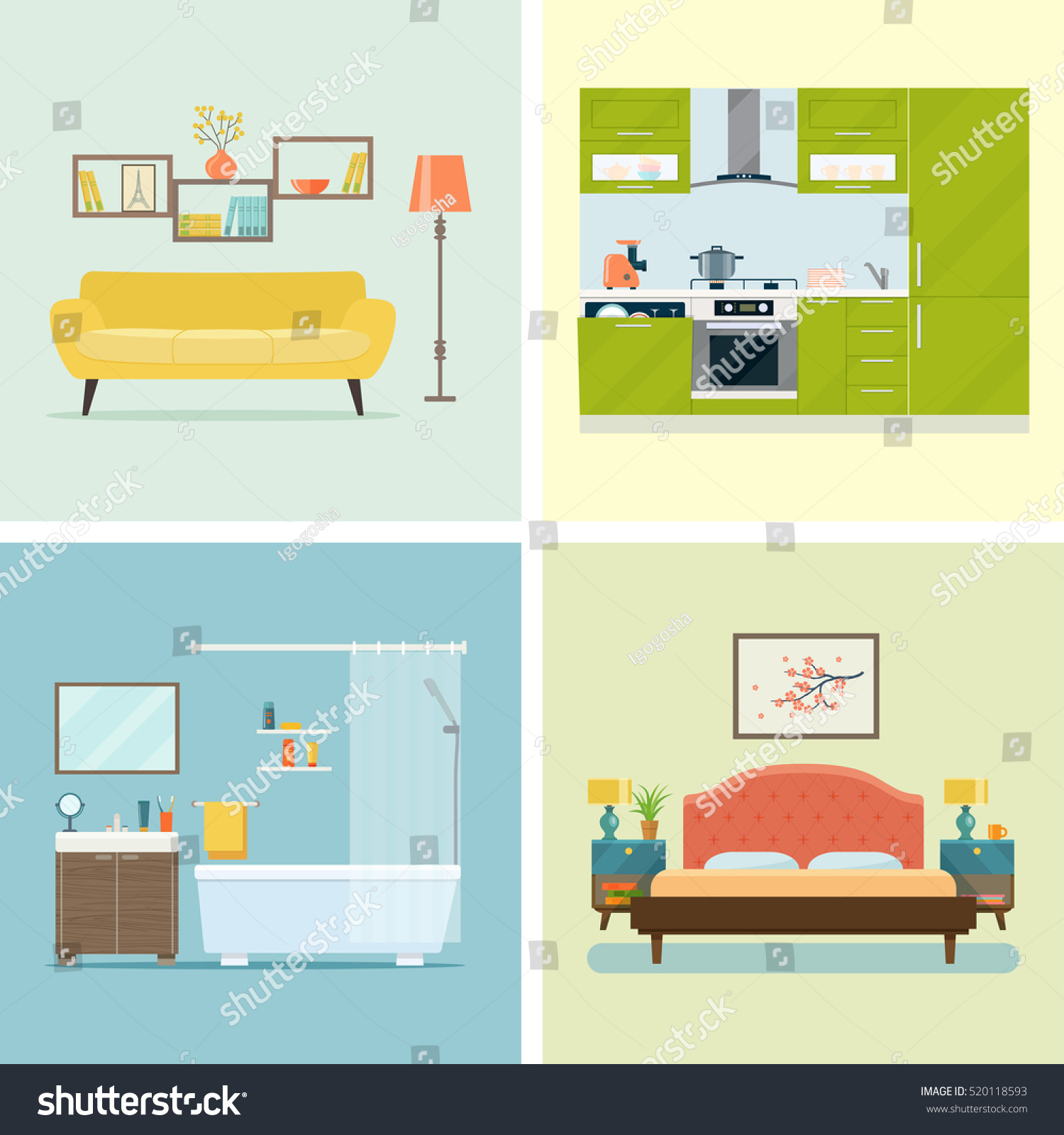 Cartoon Kitchen Furniture: Set Interior Design Room Living Room Stock Vector
