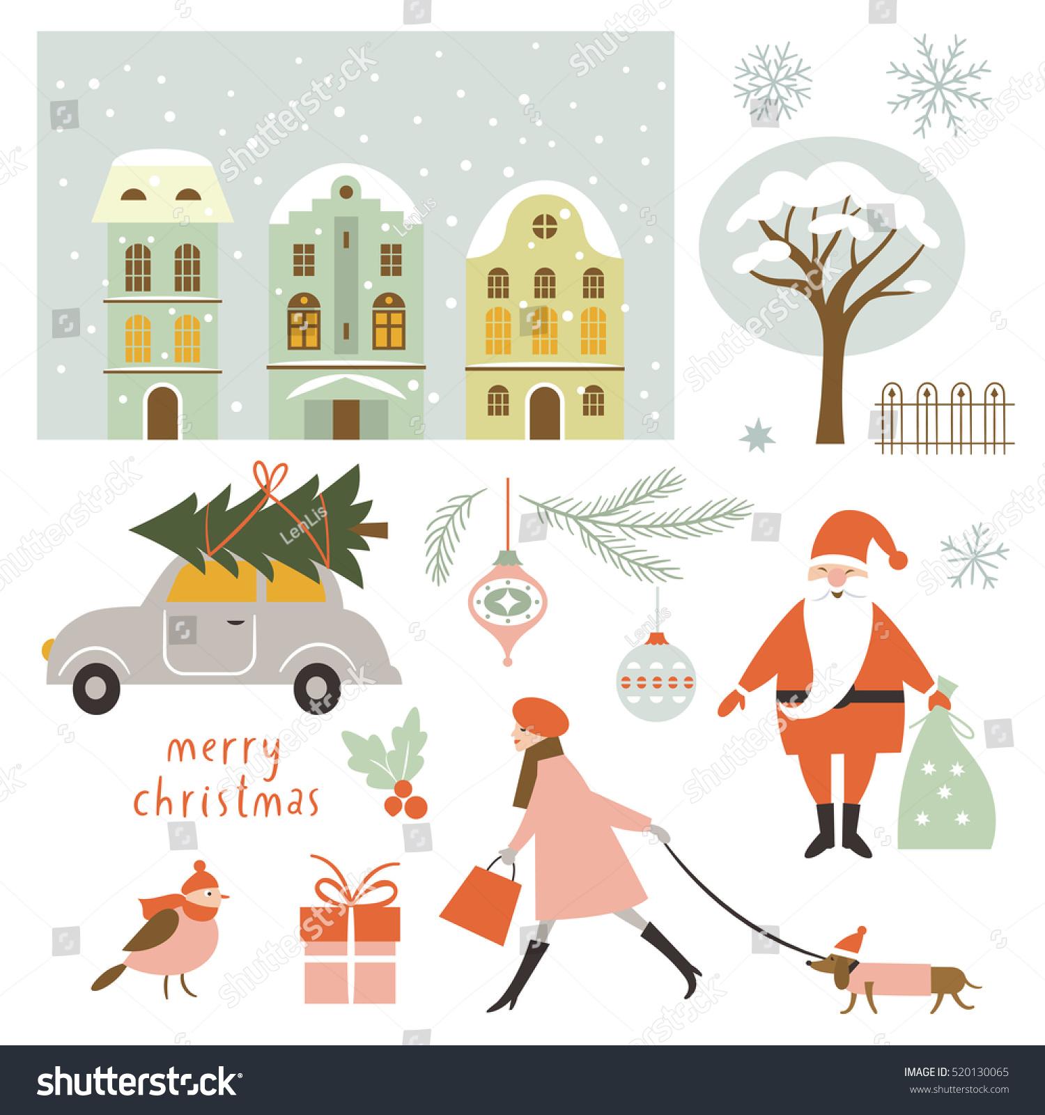 Set Christmas Vector Elements Illustrations Stock Vector (Royalty ...