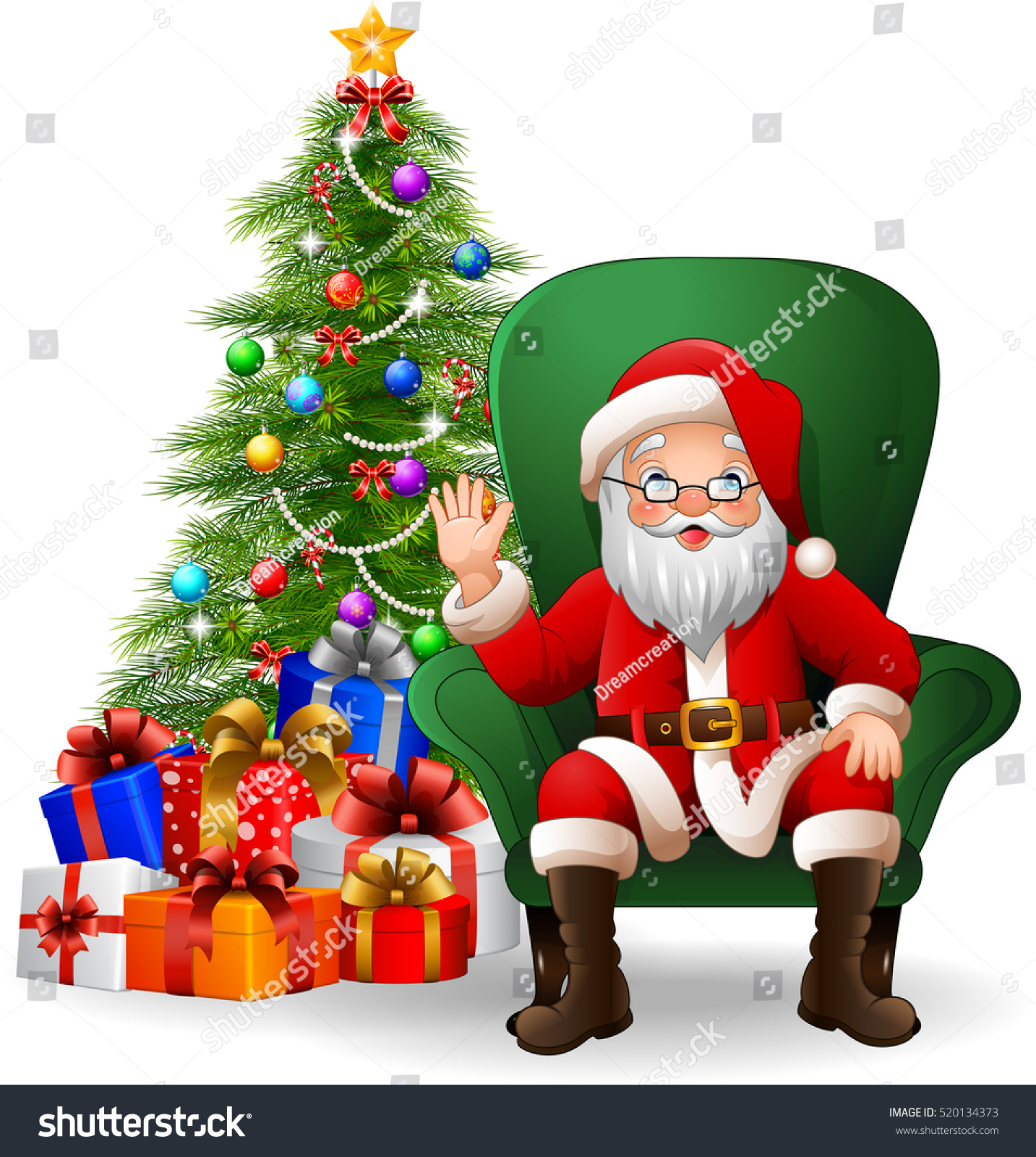 Cartoon santa claus sitting on green stock vector Photoshop santa in your living room free