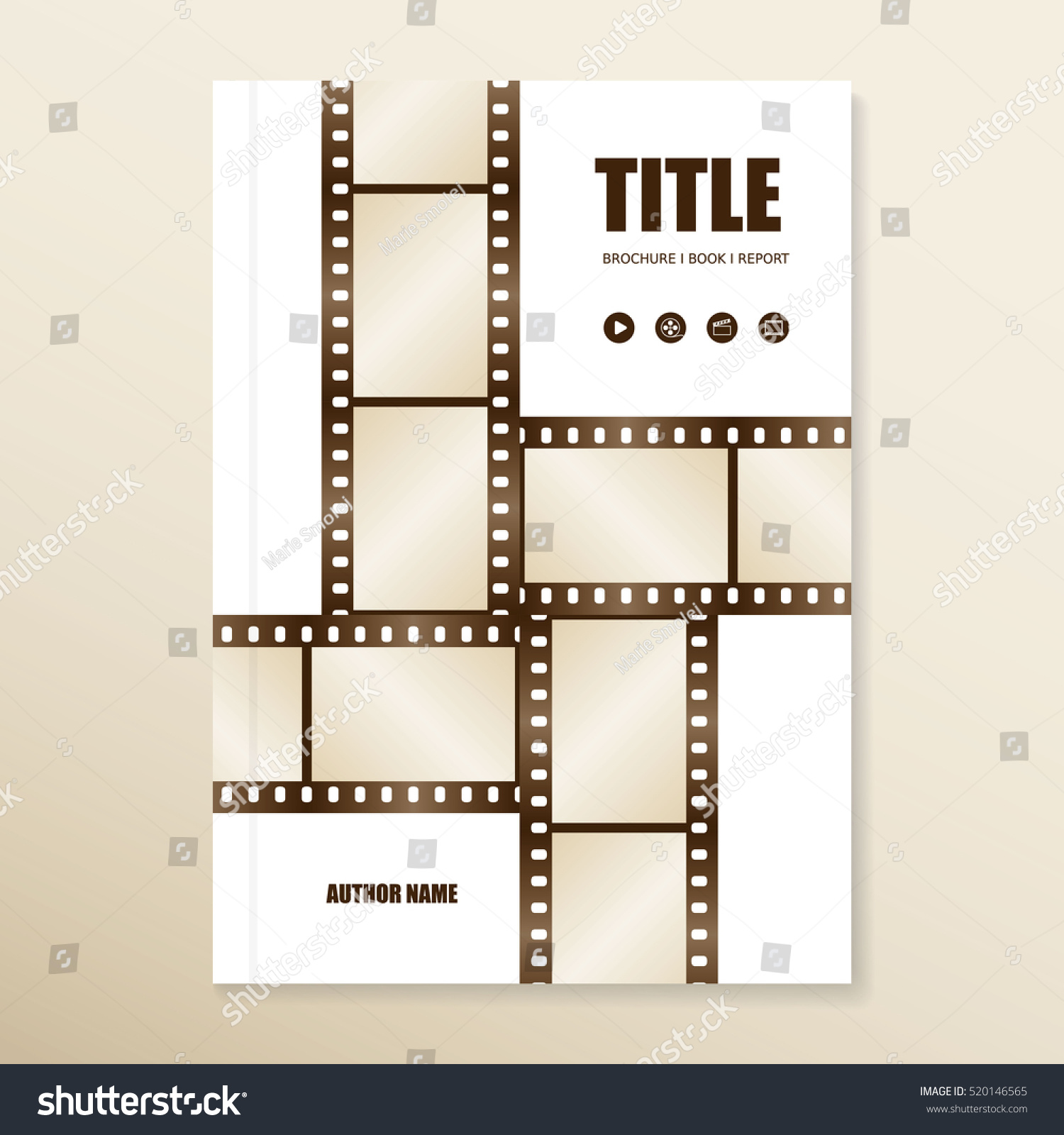 vector brochure report book cover template with film strips use for movies